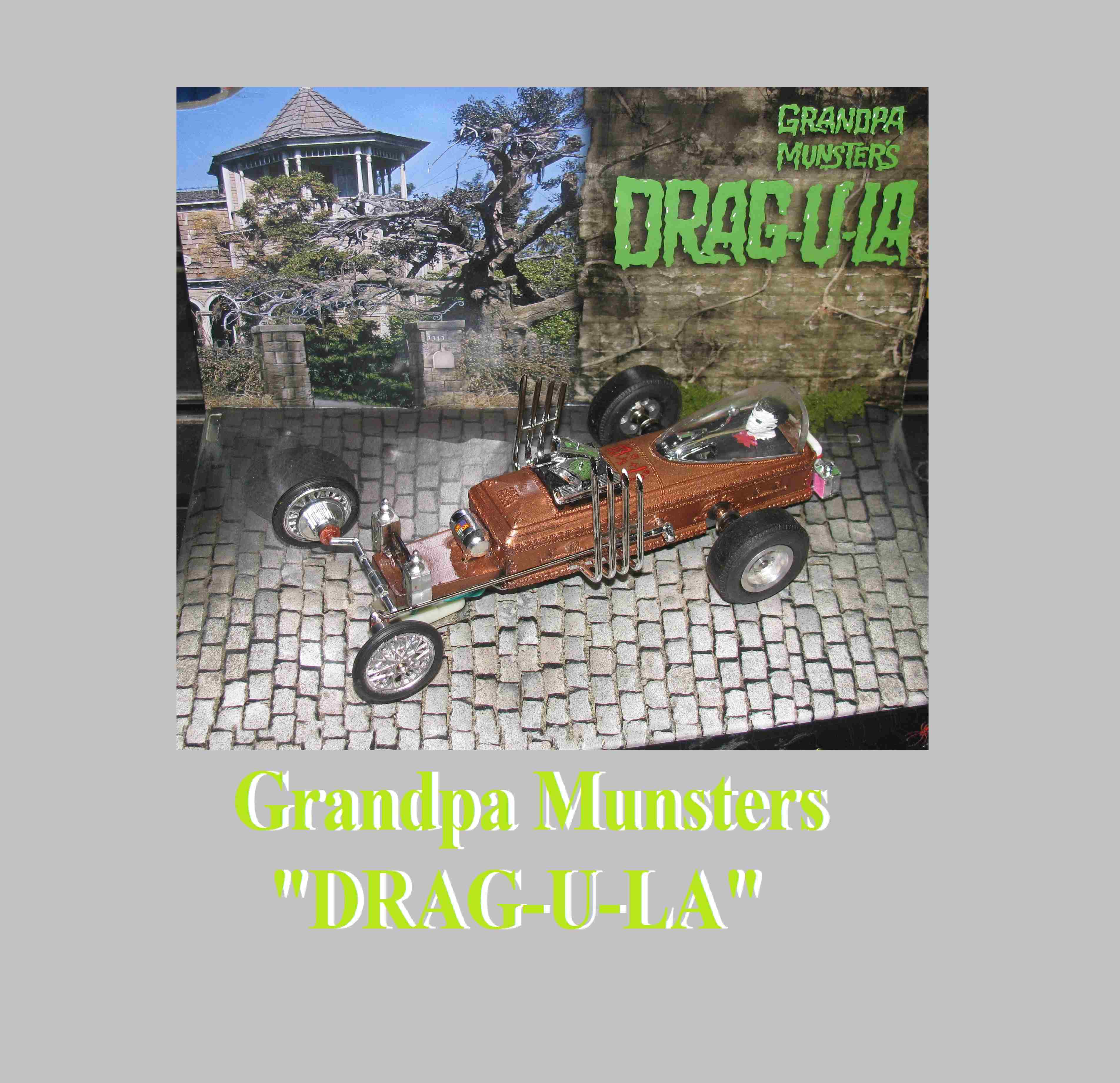 * SOLD * * SALE * The Munster's' Grandpa's DRAG-U-LA Dragster Slot Car 1/24 Scale with Hard Wood Display Stand & Driver
