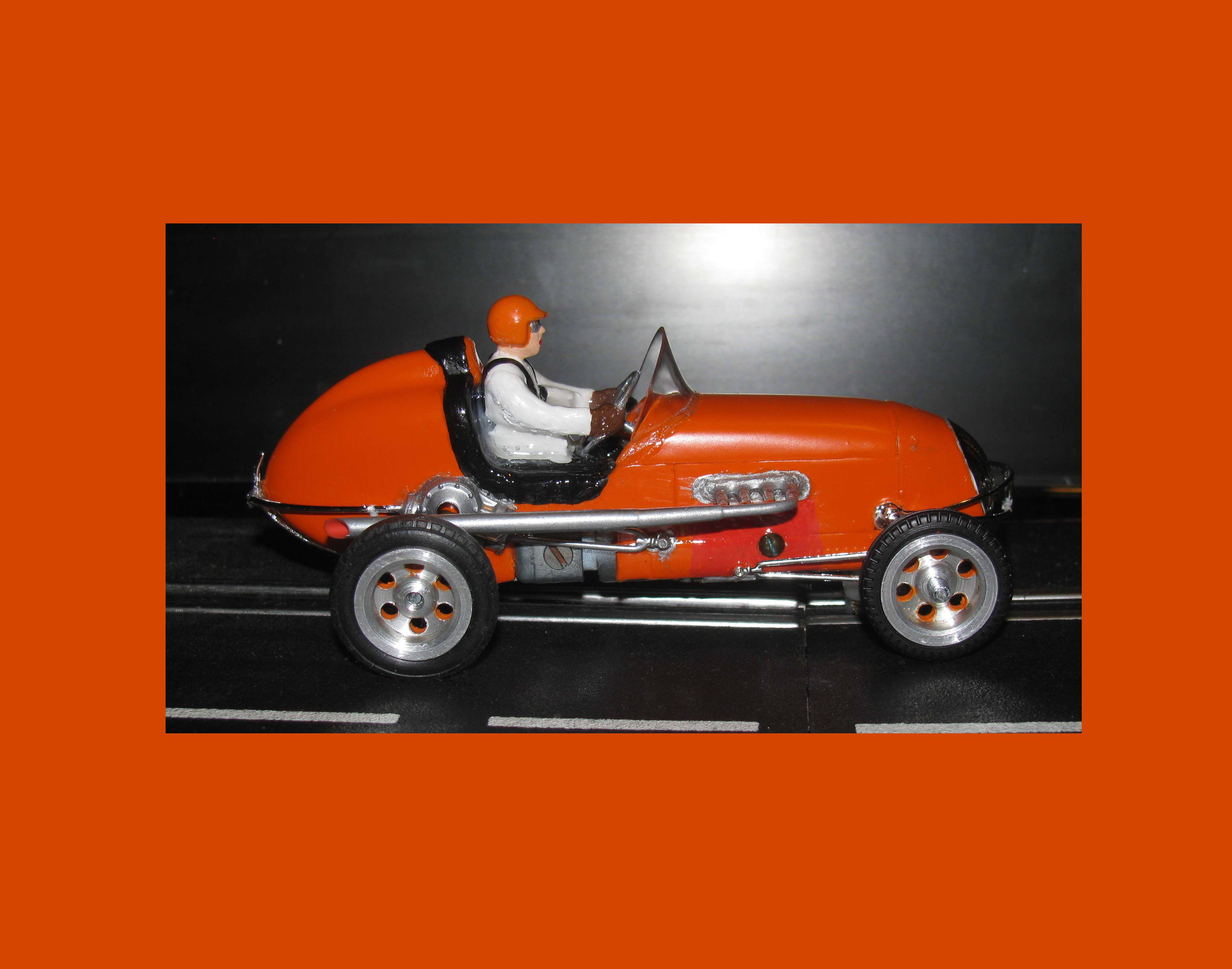 * SOLD * Vintage Revell Midget Racer Orange you glad slot car 1/32