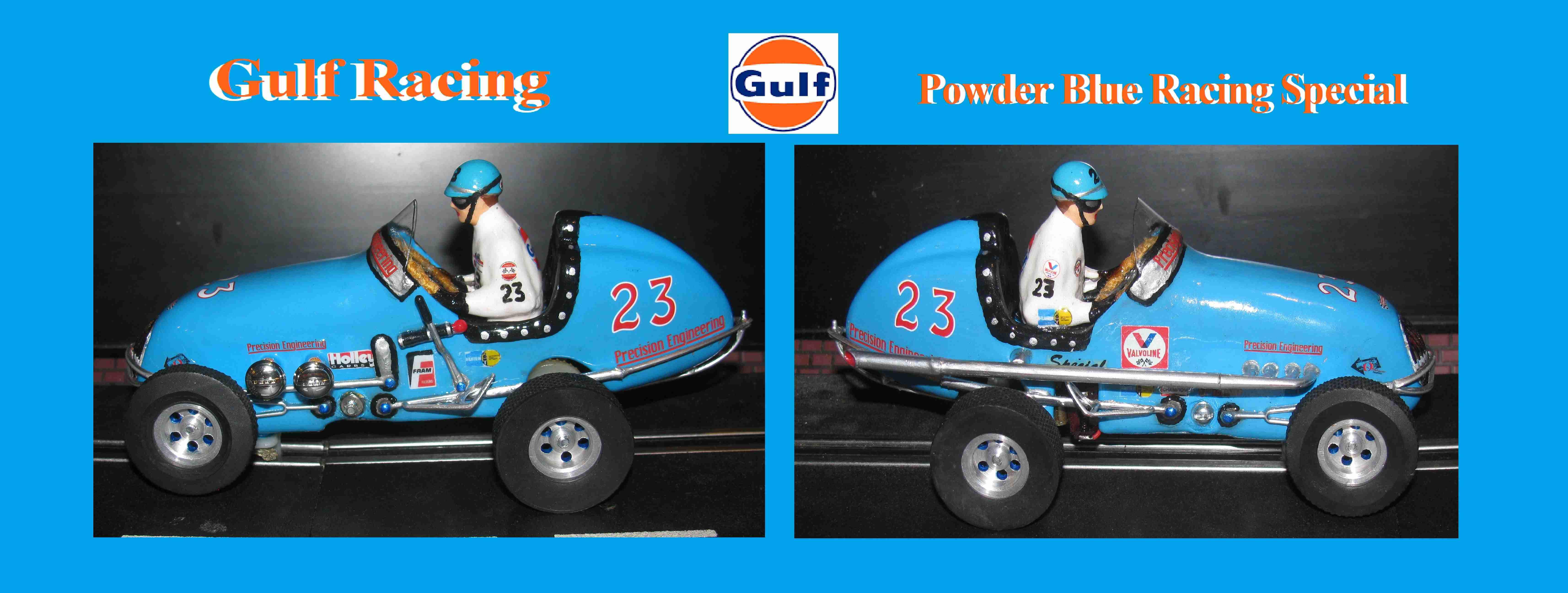 * SOLD * * SALE ENDS SUNDAY * Monogram Midget Racer Gulf Racing Special Powder Blue 1:24 Slot Car 23