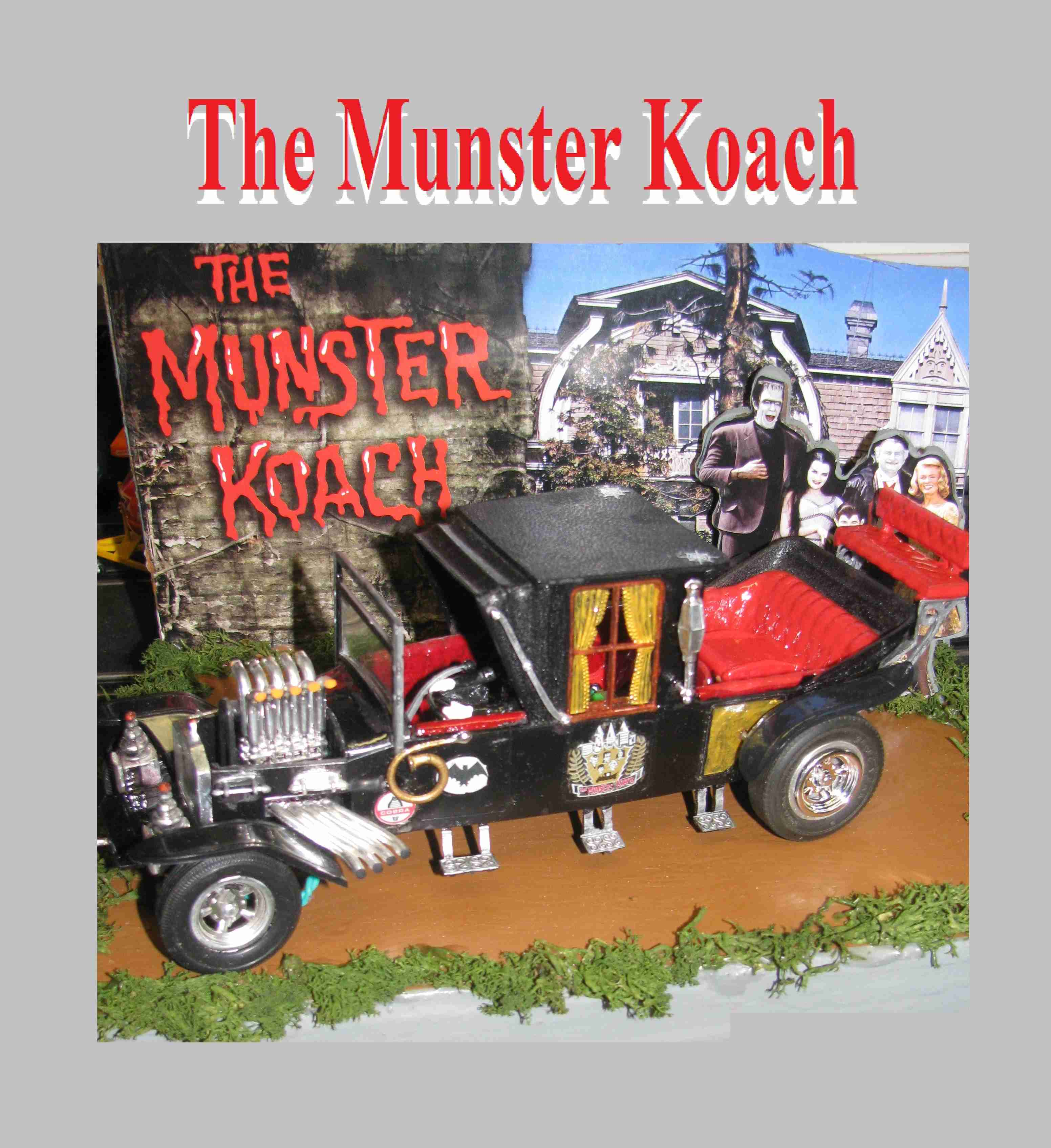 * SOLD * * SALE * The Munster Koach Slot Car 1/24 Scale with Hard Wood Display Stand & Driver