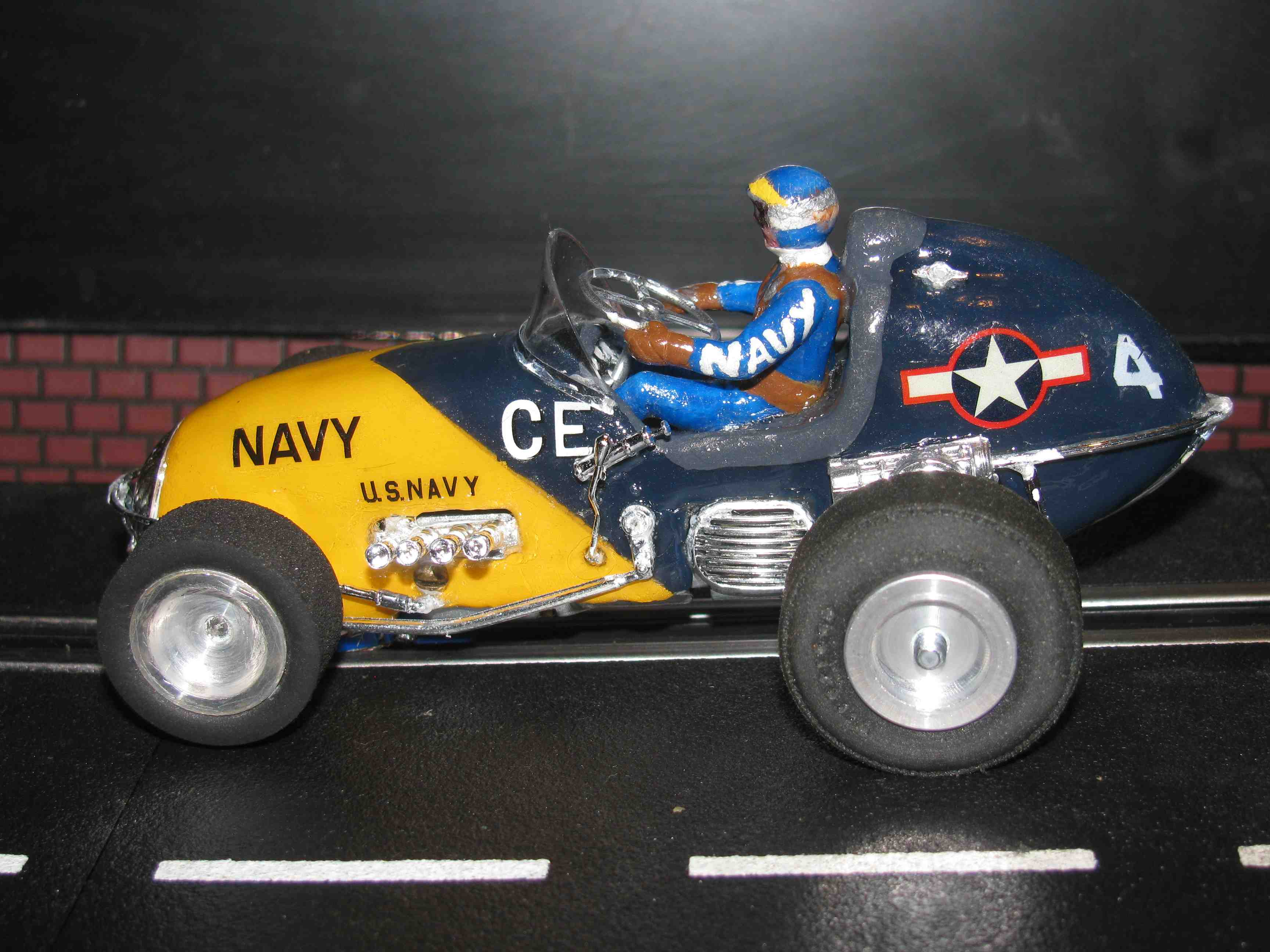 "* SOLD * Vintage Revell Midget Racer ""NAVY"" Race Team Slot Car 1/32 Scale – Blue – Car #4 (Limited Edition Set of Four - 4 of 4)"
