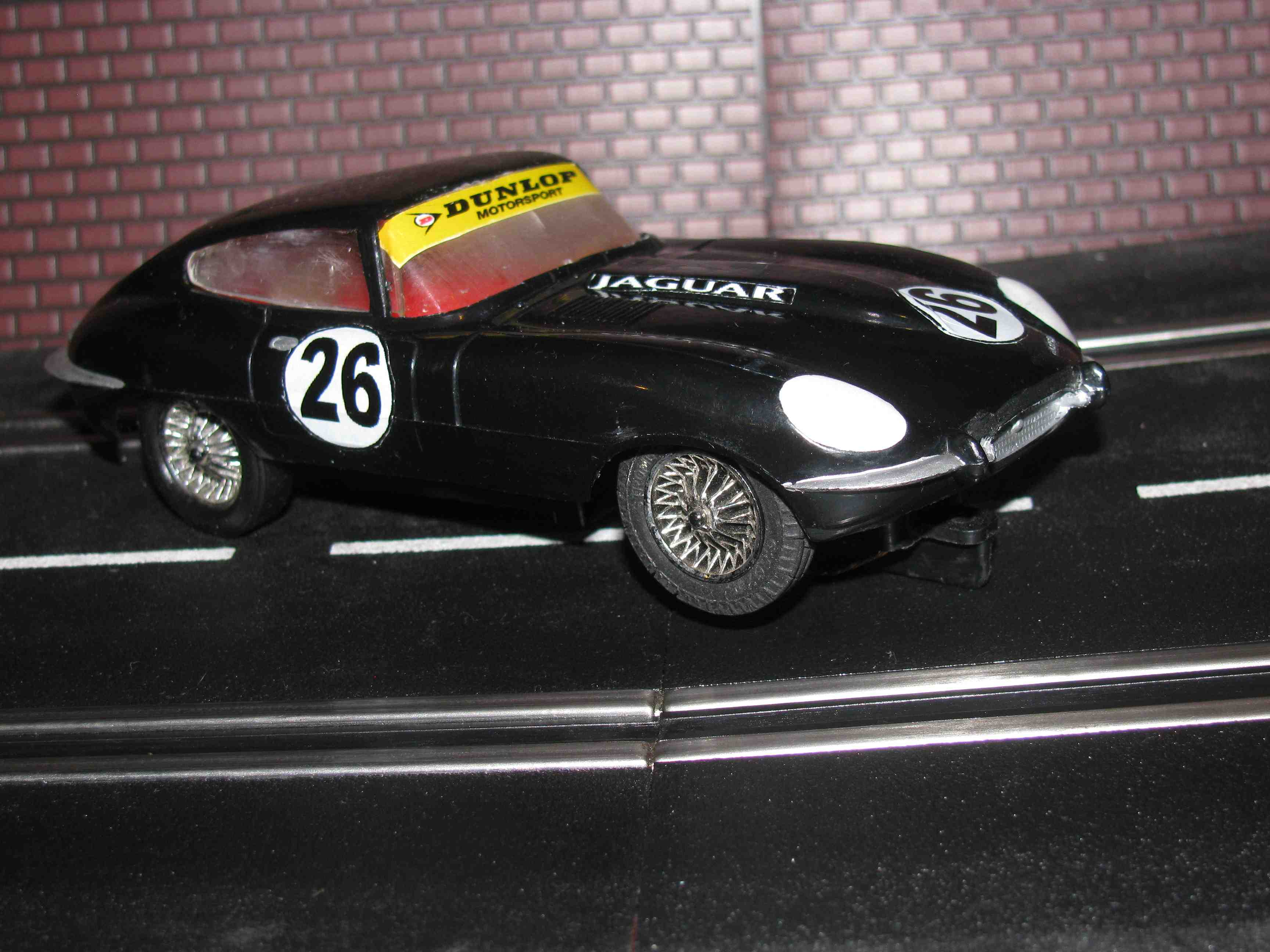 * SOLD * Strombecker Jaguar XKE Slot Car 1/32 Scale – Black – Car #26