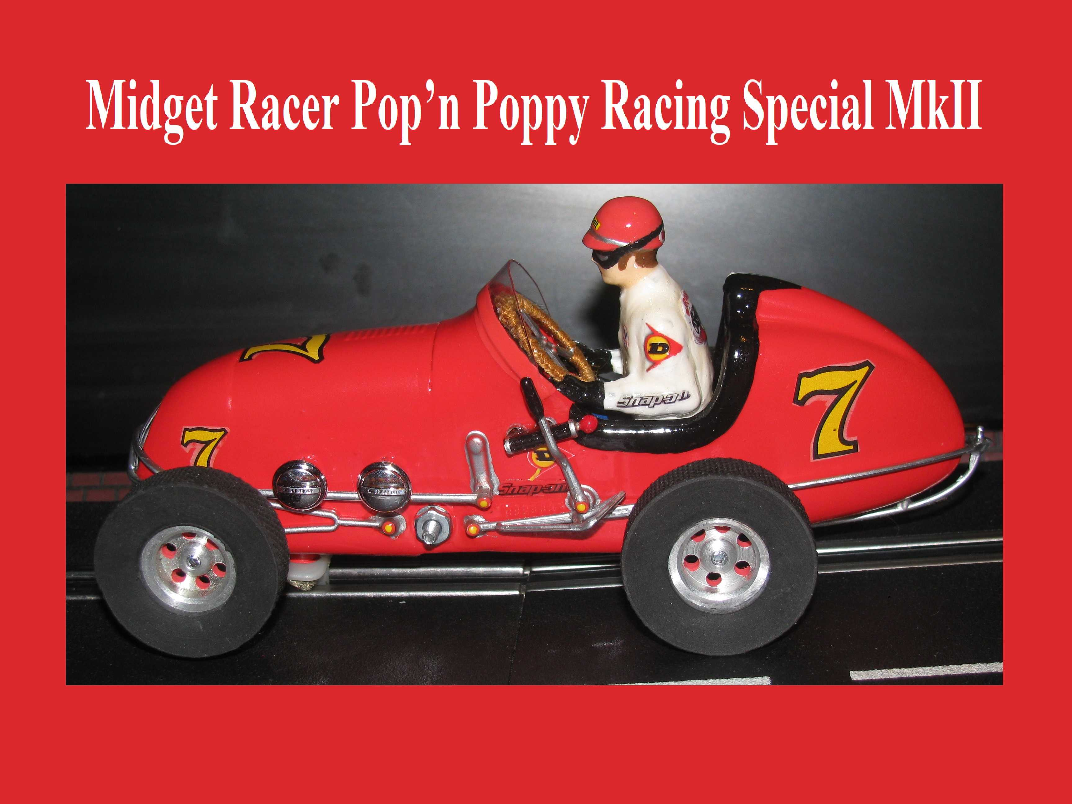 * SOLD * * SALE * Monogram Midget Racer Dunlop Racing Special MkII Slot Car 1/24 Scale (Poppy Seed Red Satin)