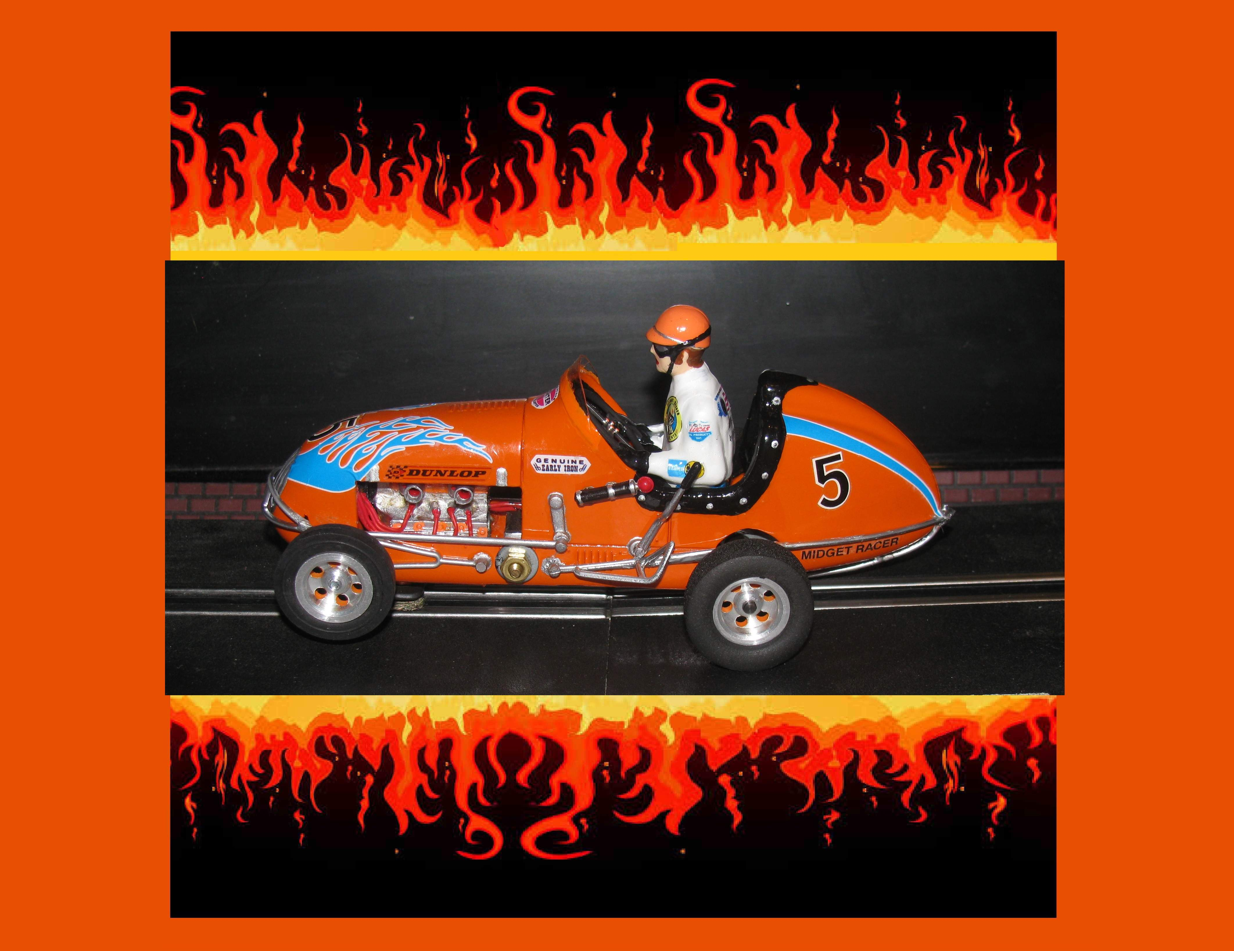 * SOLD * Midget Racer Hot Orange Kurtis Racing Special Slot Car 1:24 Scale Car #5