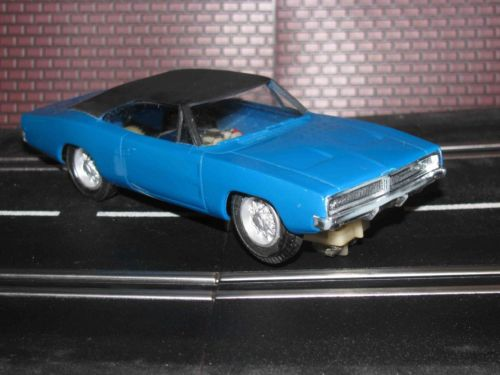* SOLD * Eldon 1968 Dodge Charger Slot Car 1/32 Scale – Blue with Black Top – Near Mint