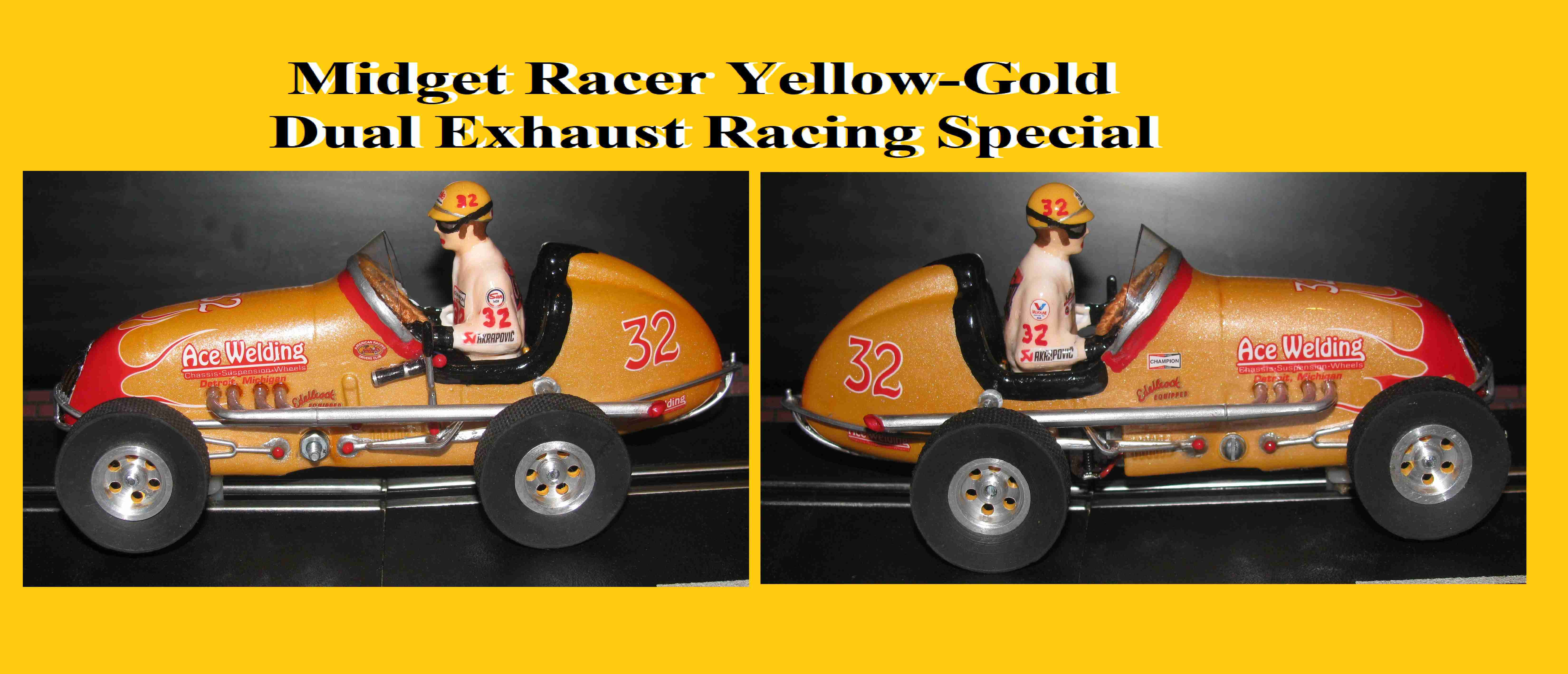 *SOLD * * SALE * * FOR CHARLES E. ONLY * Monogram Midget Racer Yellow-Gold Dual Exhaust Racing Special Slot Car 1/24 Scale (Revell Style Yellow-Gold Pearl Custom)