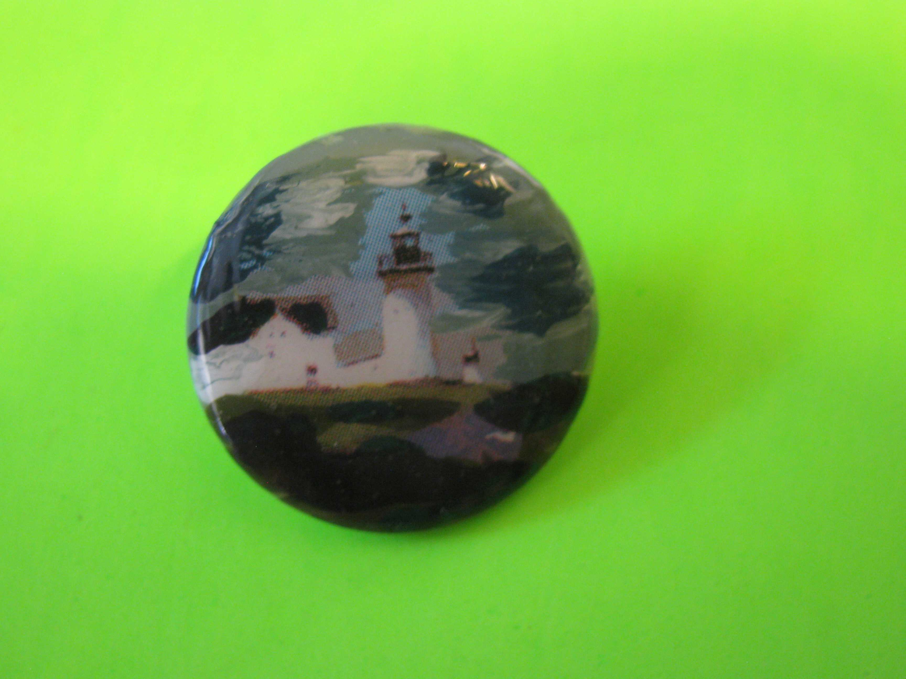 Lighthouse - Vintage Mother of Pearl Button with Painted Lighthouse & Brass Loop Shank