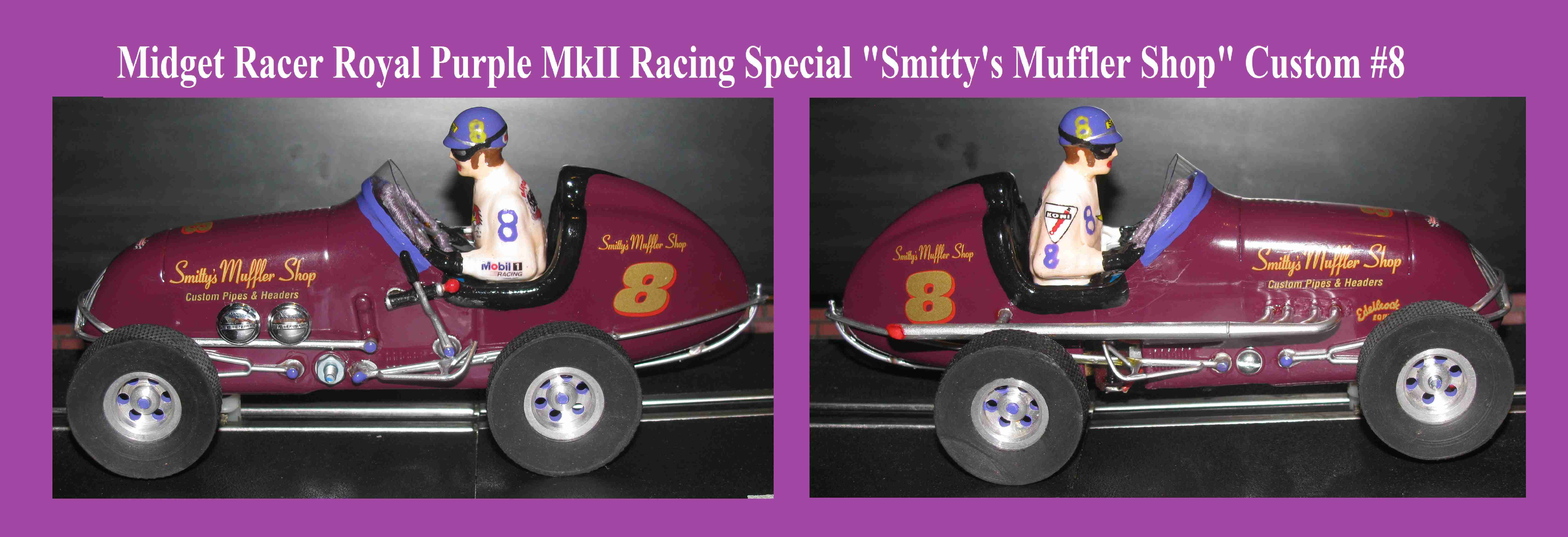 """* SOLD * * Sale Price for """"Tom"""" treisner (663) If you have questions, text me at 734-657-6456 * Monogram Midget Racer Racer Royal Purple MkII Racing Special Slot Car 1/24 Scale (Aubergine Satin Purple)"""