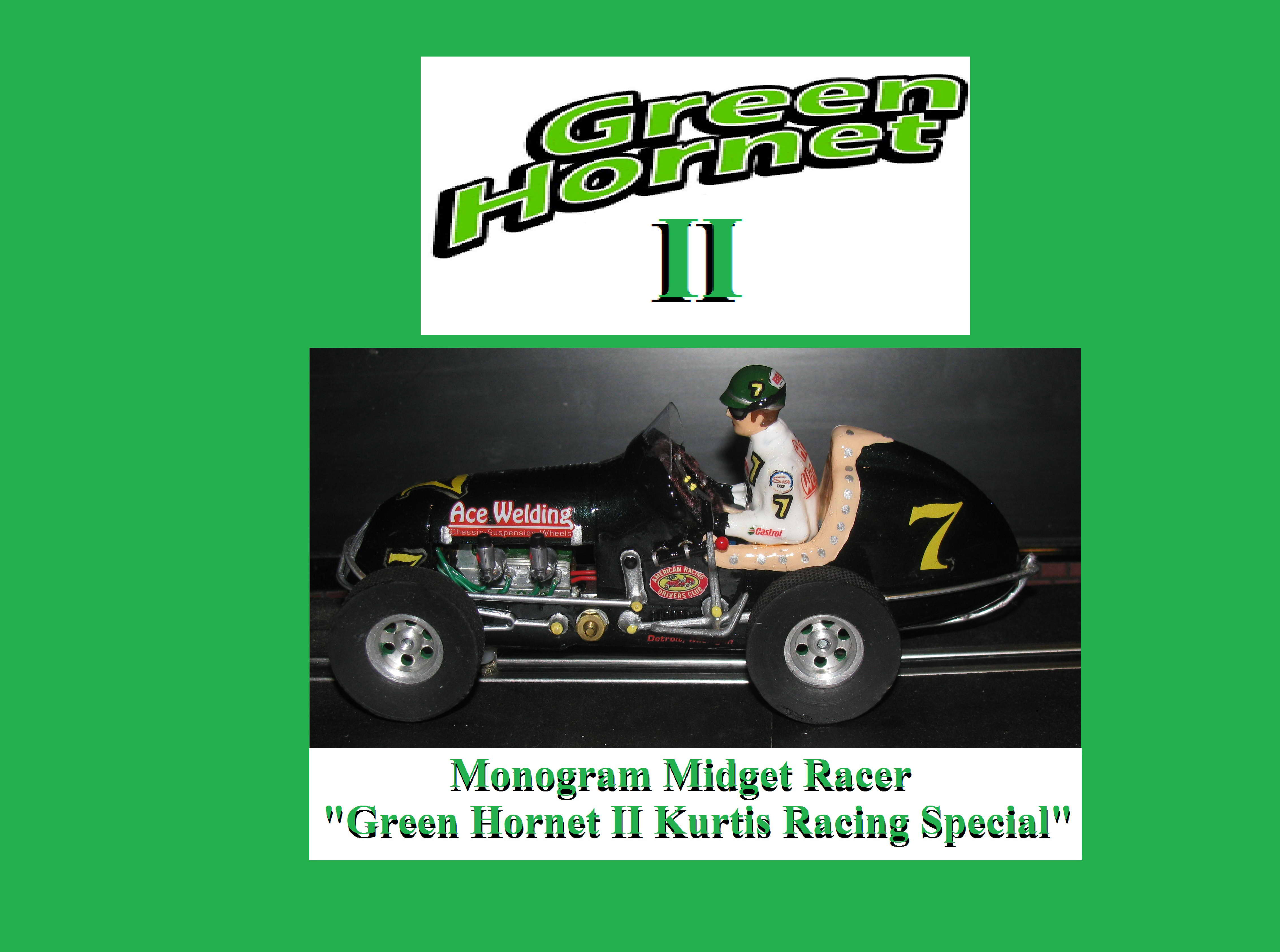 * SOLD * * SALE * Monogram Midget Racer Green Hornet II Kurtis Racing Special Slot Car #7