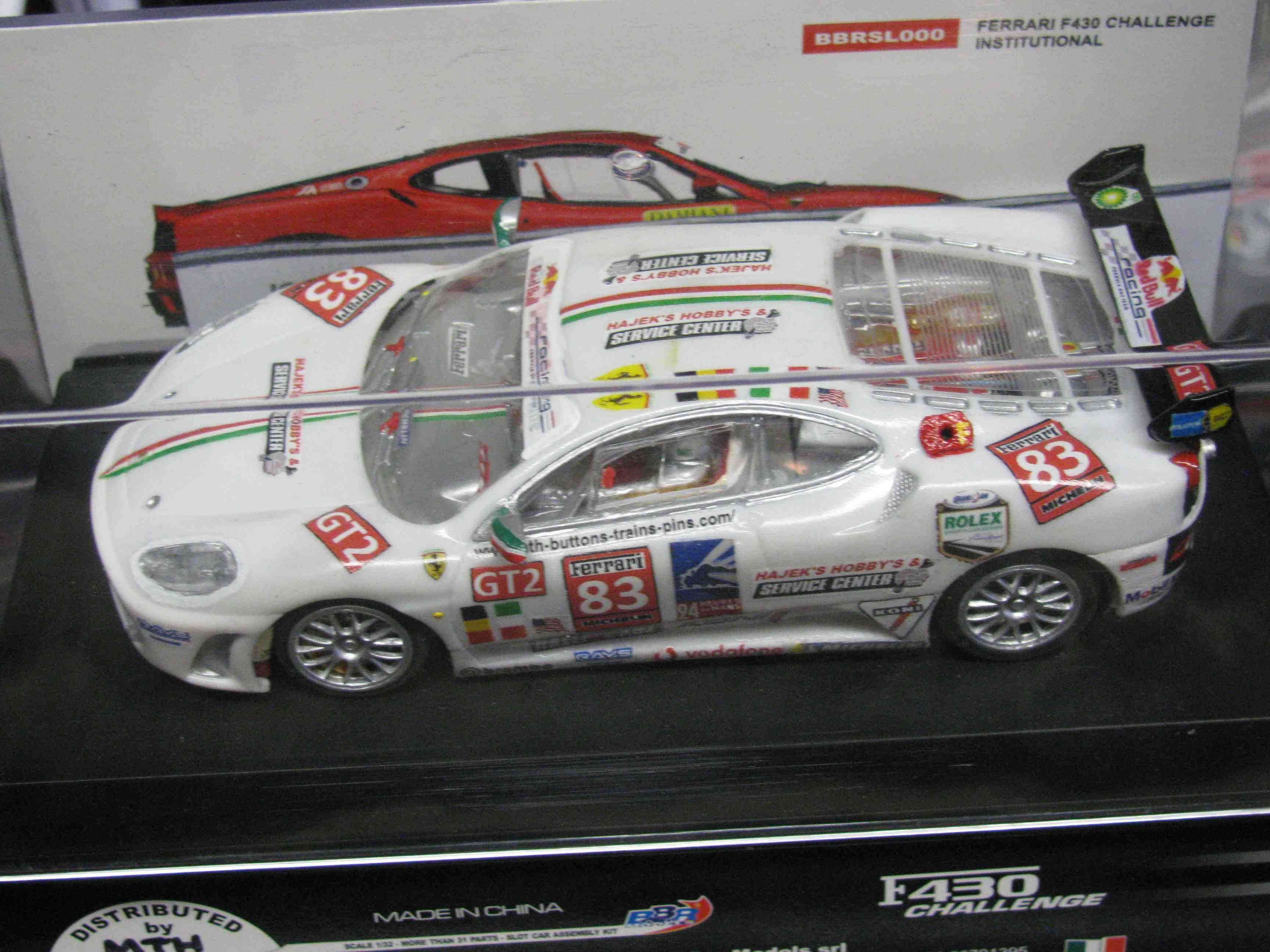 * SOLD * *SALE* Ferrari F430 Challenge Slot Car in Brilliant Bianca White, with a custom Decal Design – Car #83