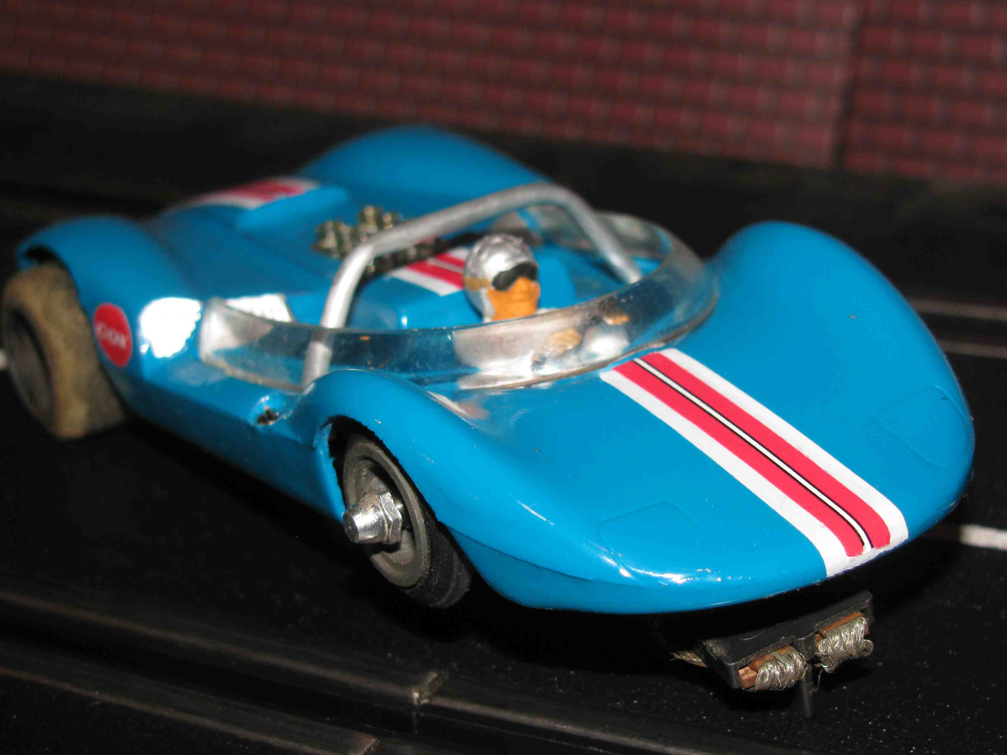 * SOLD * COX Lil Cucaracha Blue Blaster One slot car – Blue with triple Racing Strip - 1/32 Scale