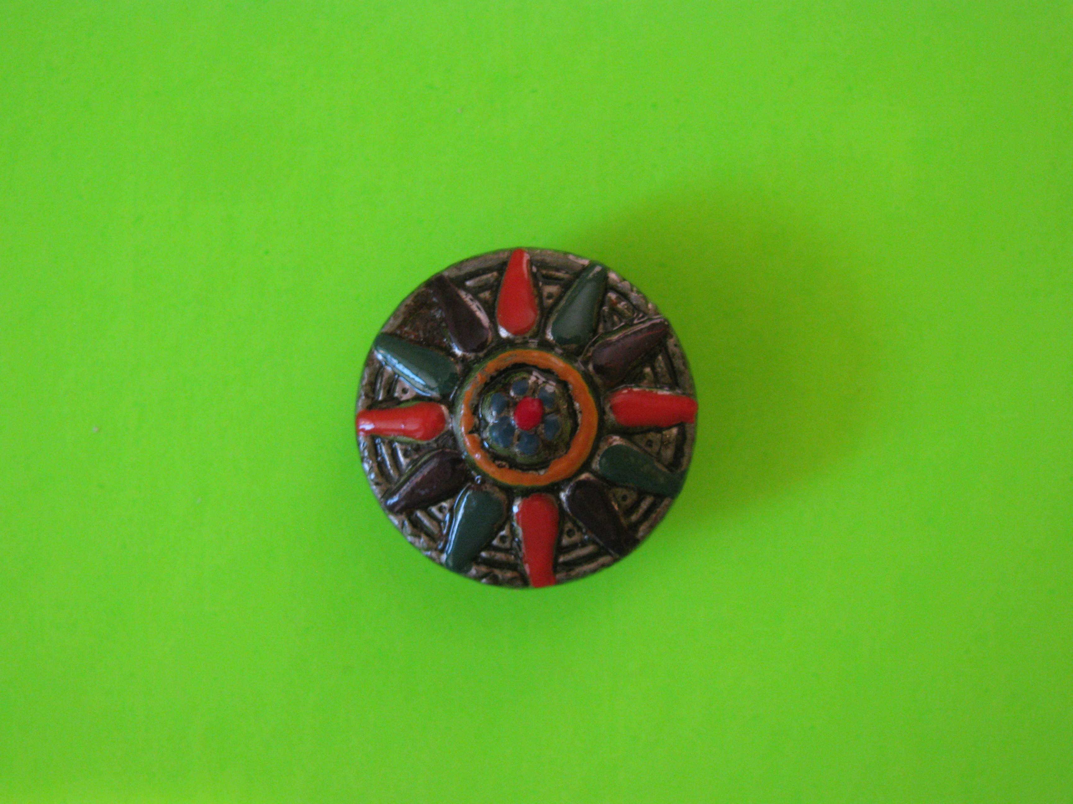 Festive Red Hot Chili Peppers on Metal Button with Metal Loop Shank