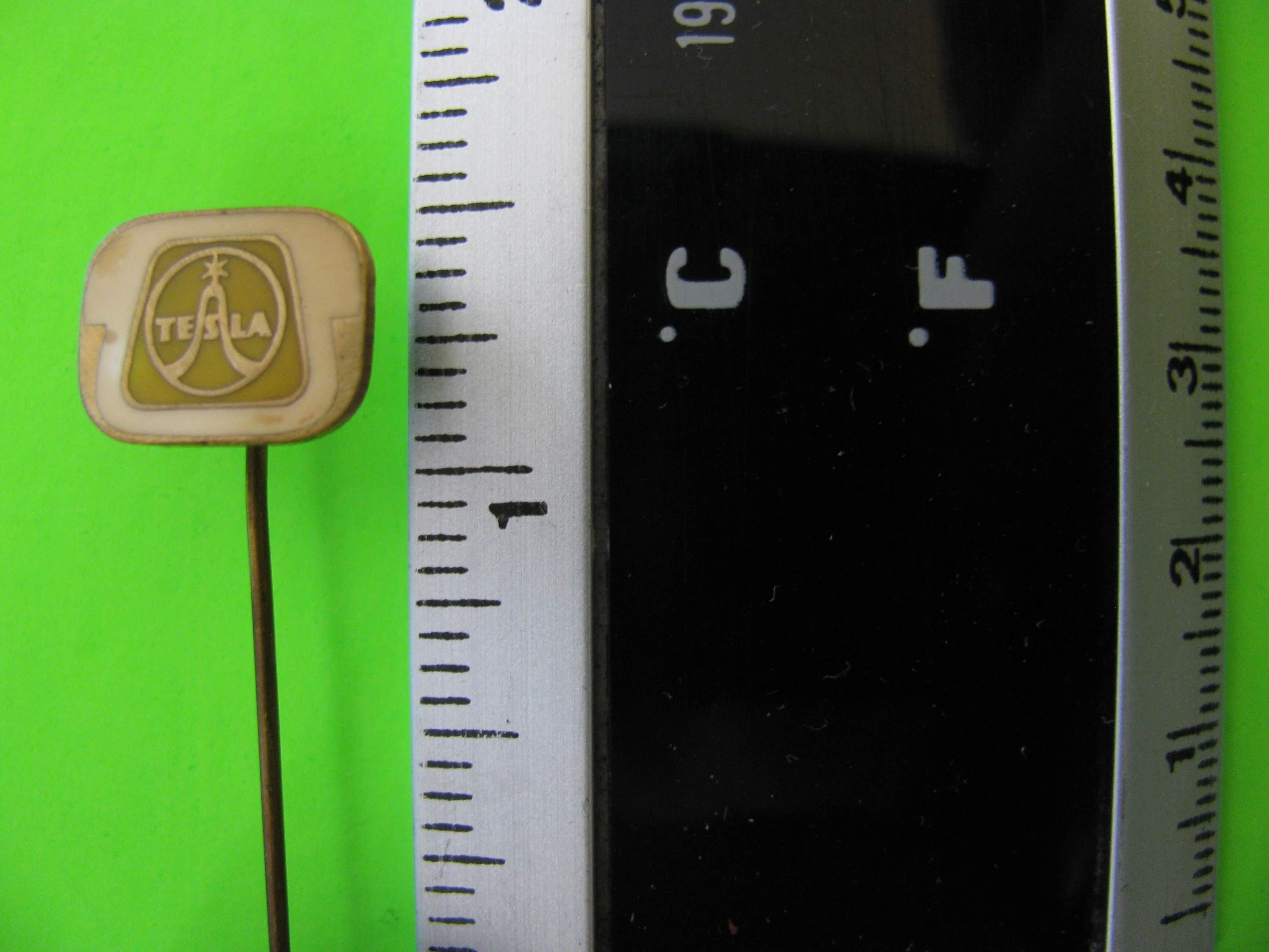 Vintage Tesla Stick Pin, Metal with Cream Colored Telephone Background (PRAHA 7)