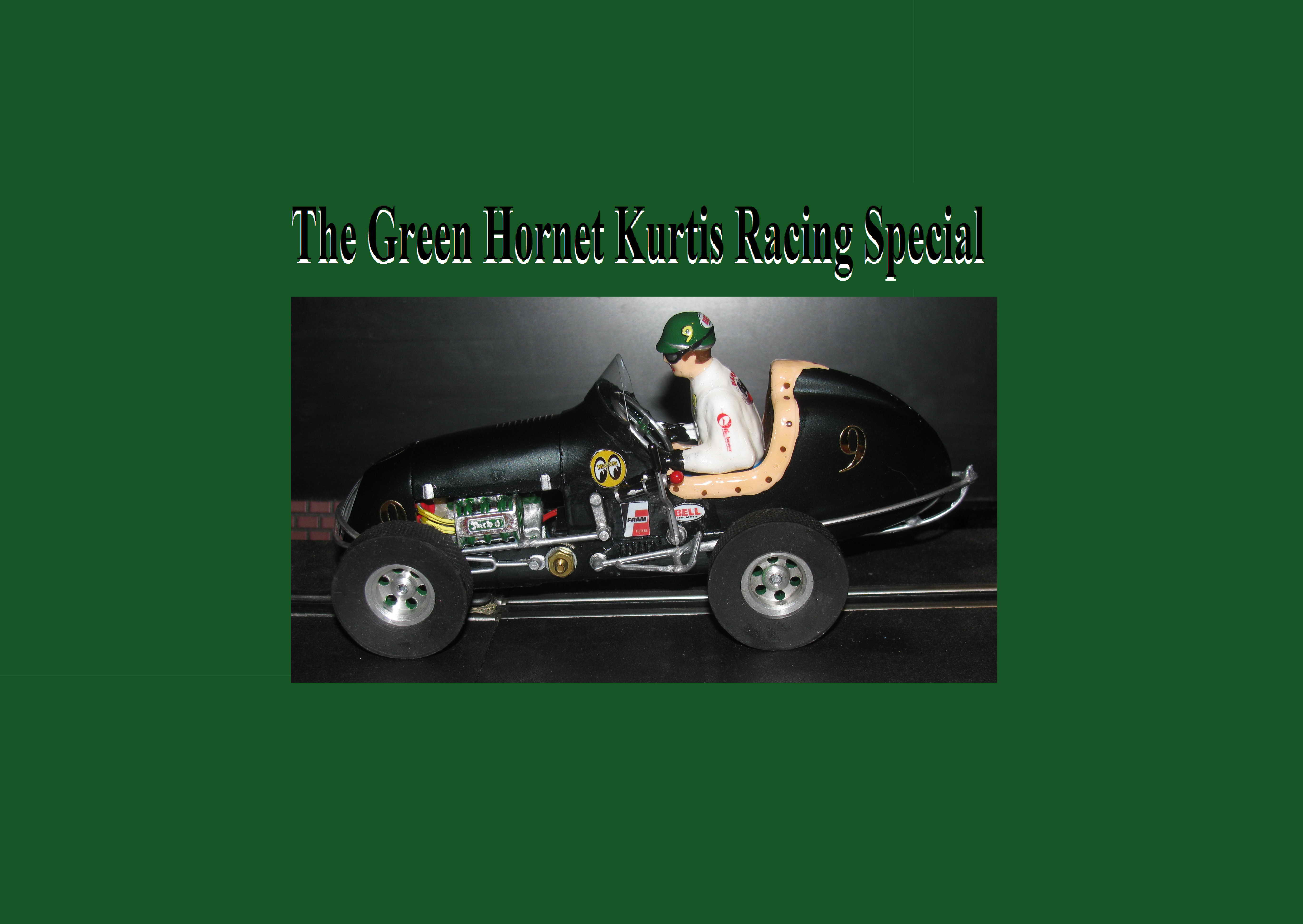 *SOLD* *SPECIAL FOR CHARLES E.* Monogram Midget Racer Green Hornet Kurtis Racing Special Slot Car #9