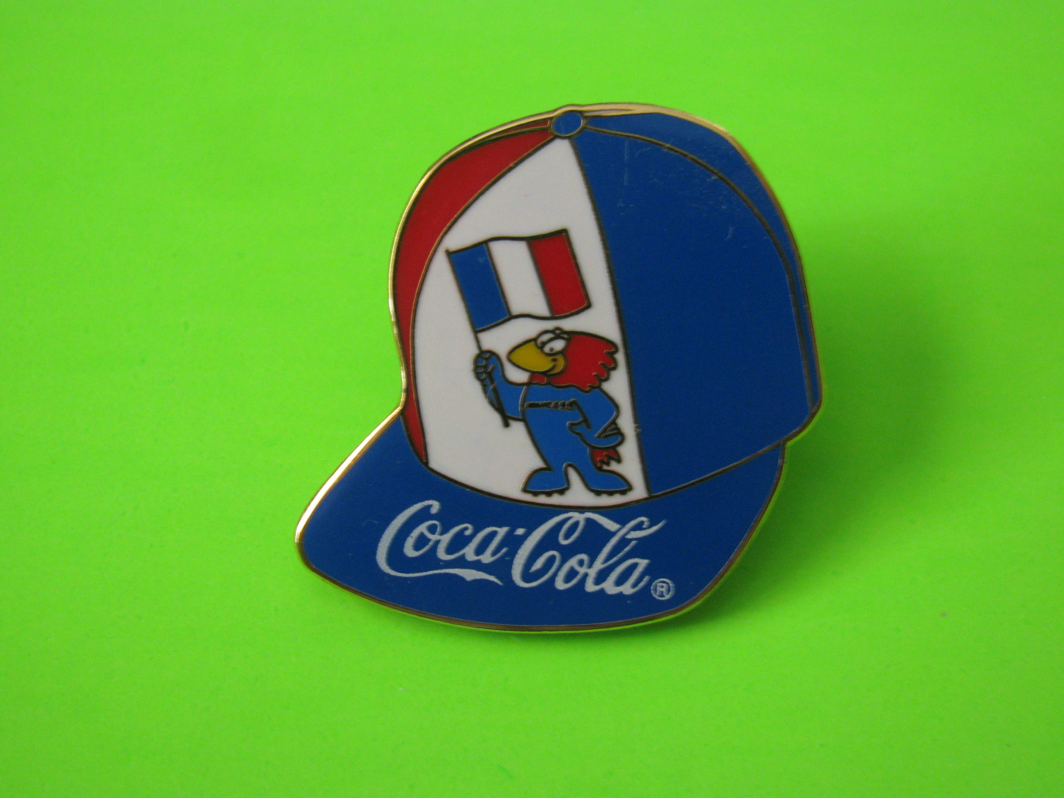 1995 Coca-Cola Promo Soccer Pin, France, Ball Cap Shaped, Metal with Butterfly Clutch