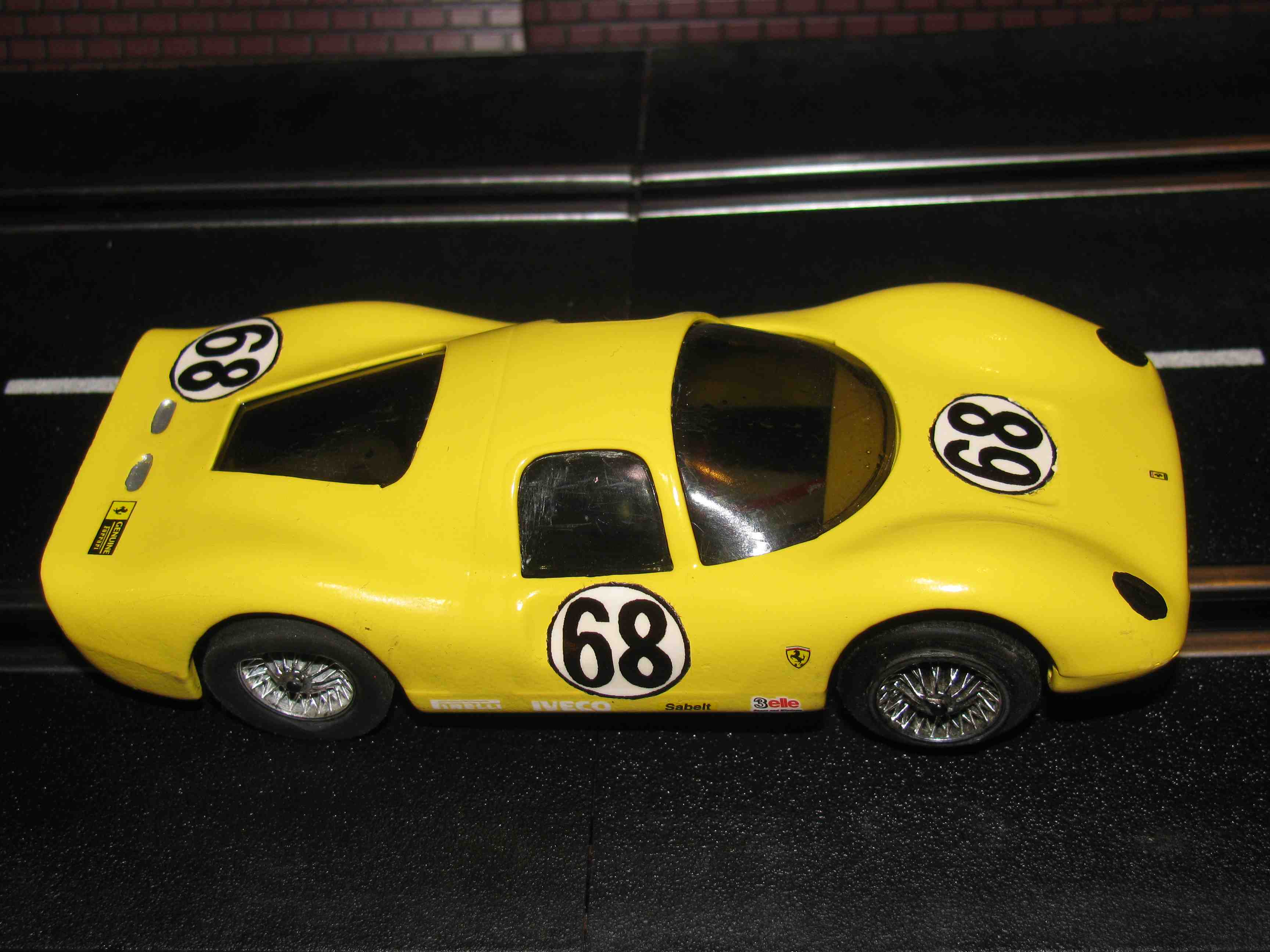 1966 Eldon Ferrari 330 P3 Slot Car in Sun fire Yellow, Car # 21, 1/32 Scale