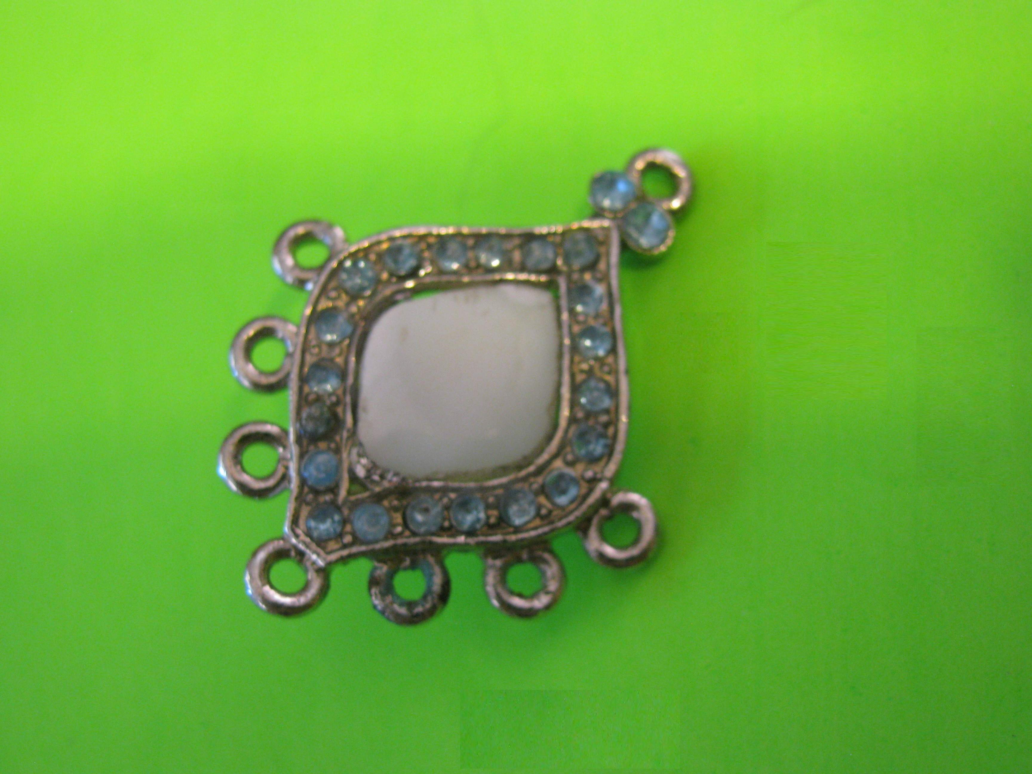 Vintage Teardrop Shaped Silver Metal Button with Mother of Pearl Center and Surrounded by Rhinestones – Brass Loop Shank