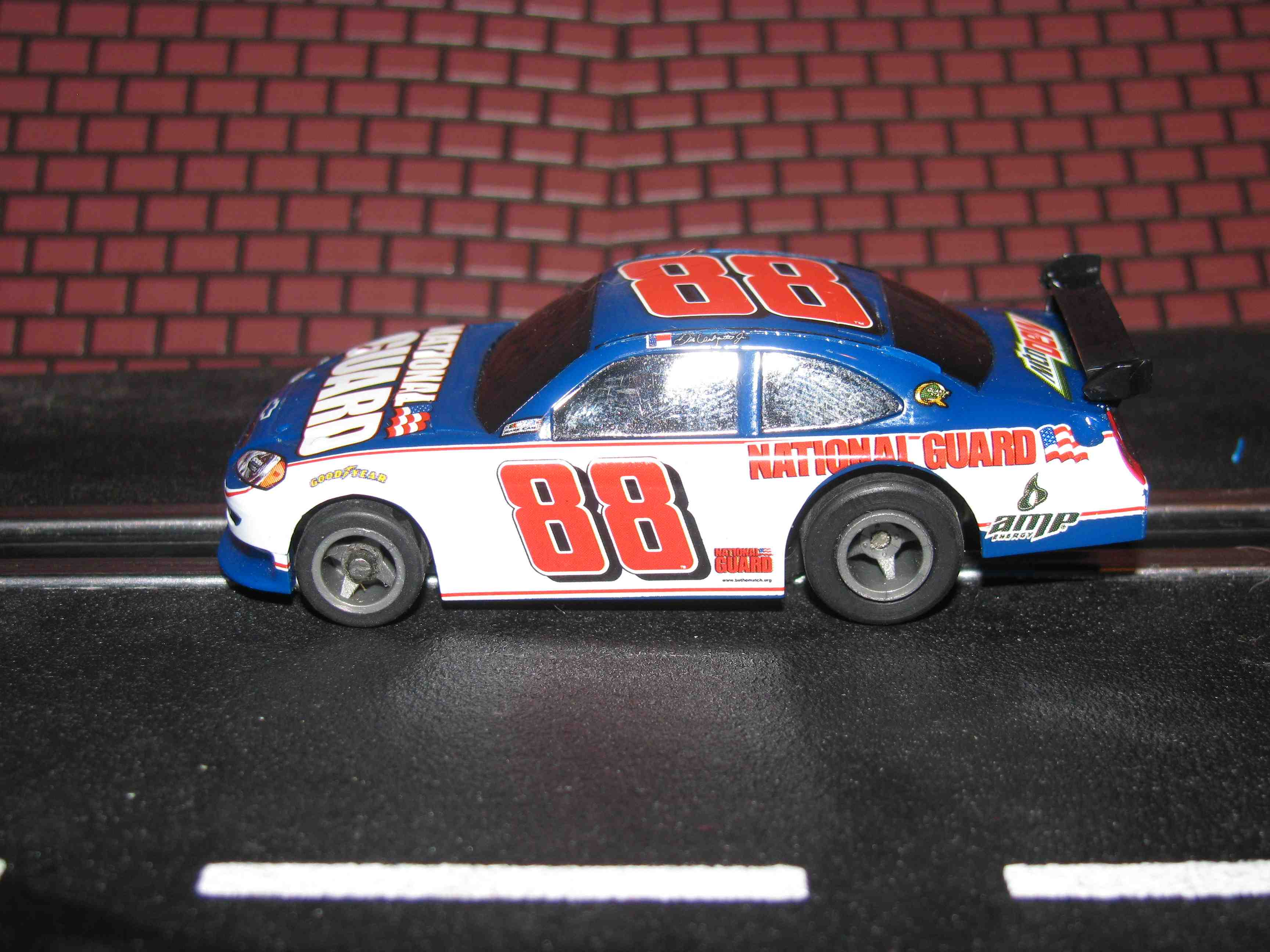 * SOLD * Tyco Like-Like HO Slot Car #88 Chevy Impala (National Guard) with Guide Post