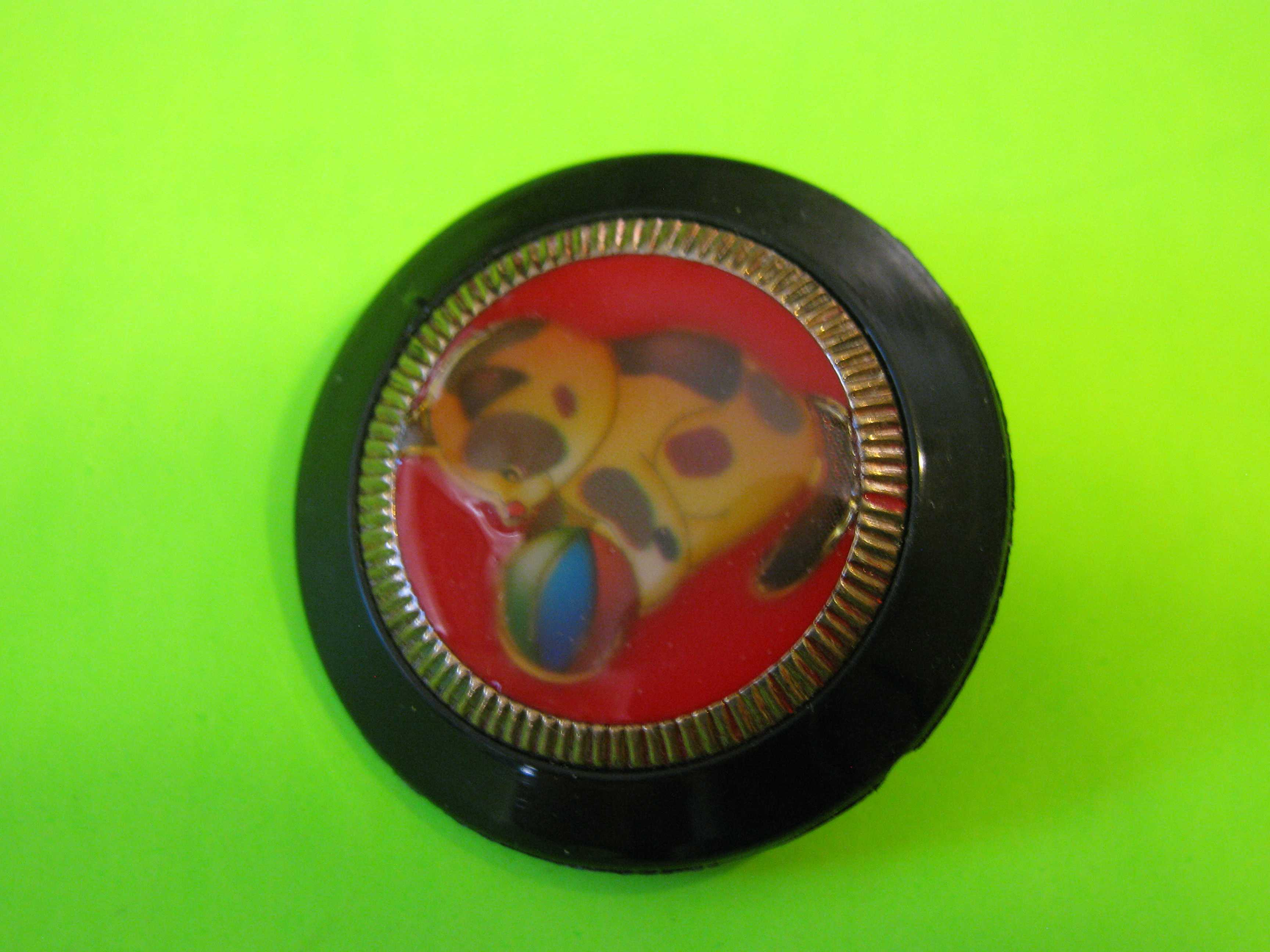 Vintage Plastic Button with Cute Cat Playing with a Ball with Metal Loop Shank