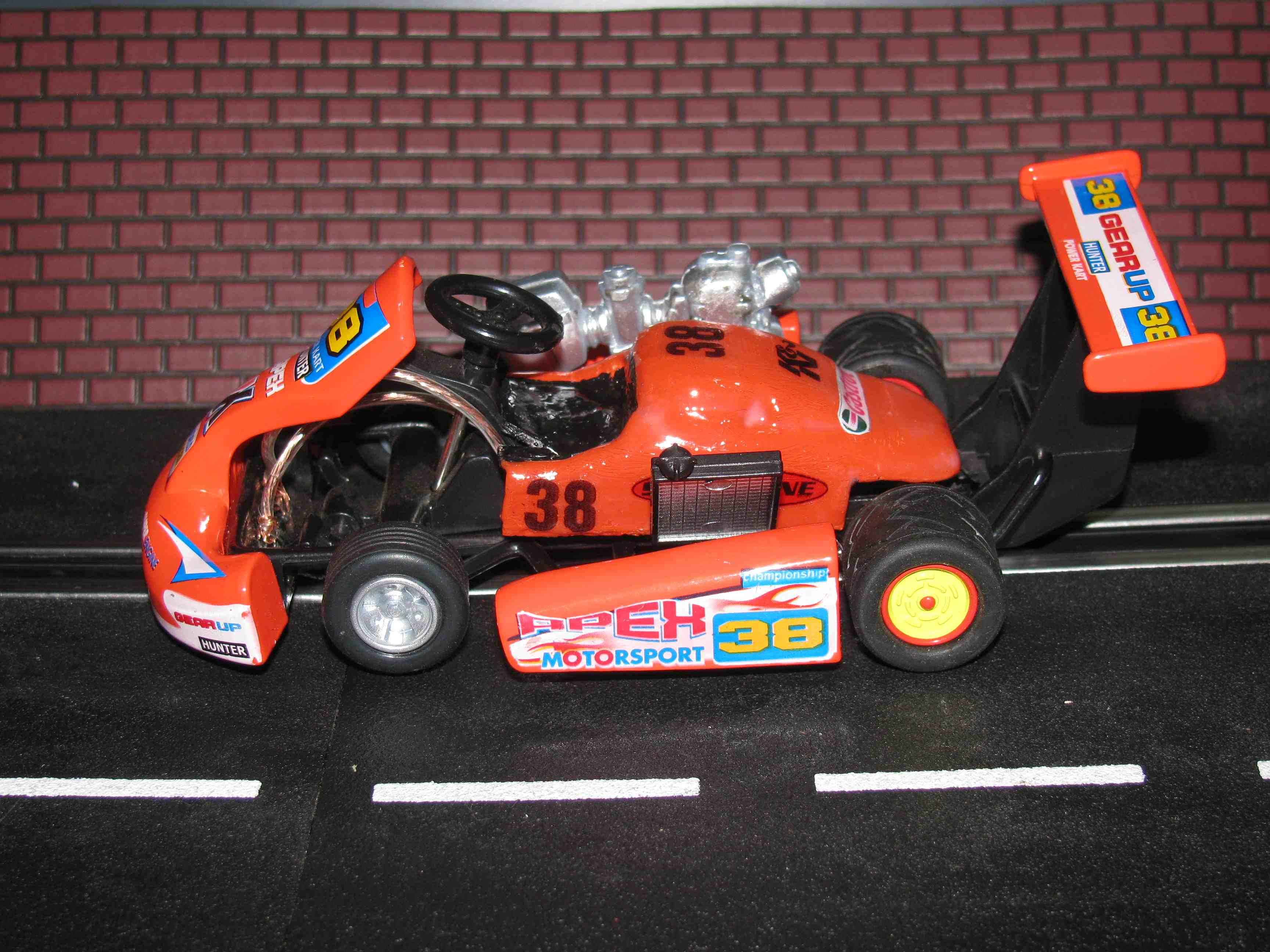 *SOLD to Marcelo F. * Custom Slot Car Kart - Orange - Car 38