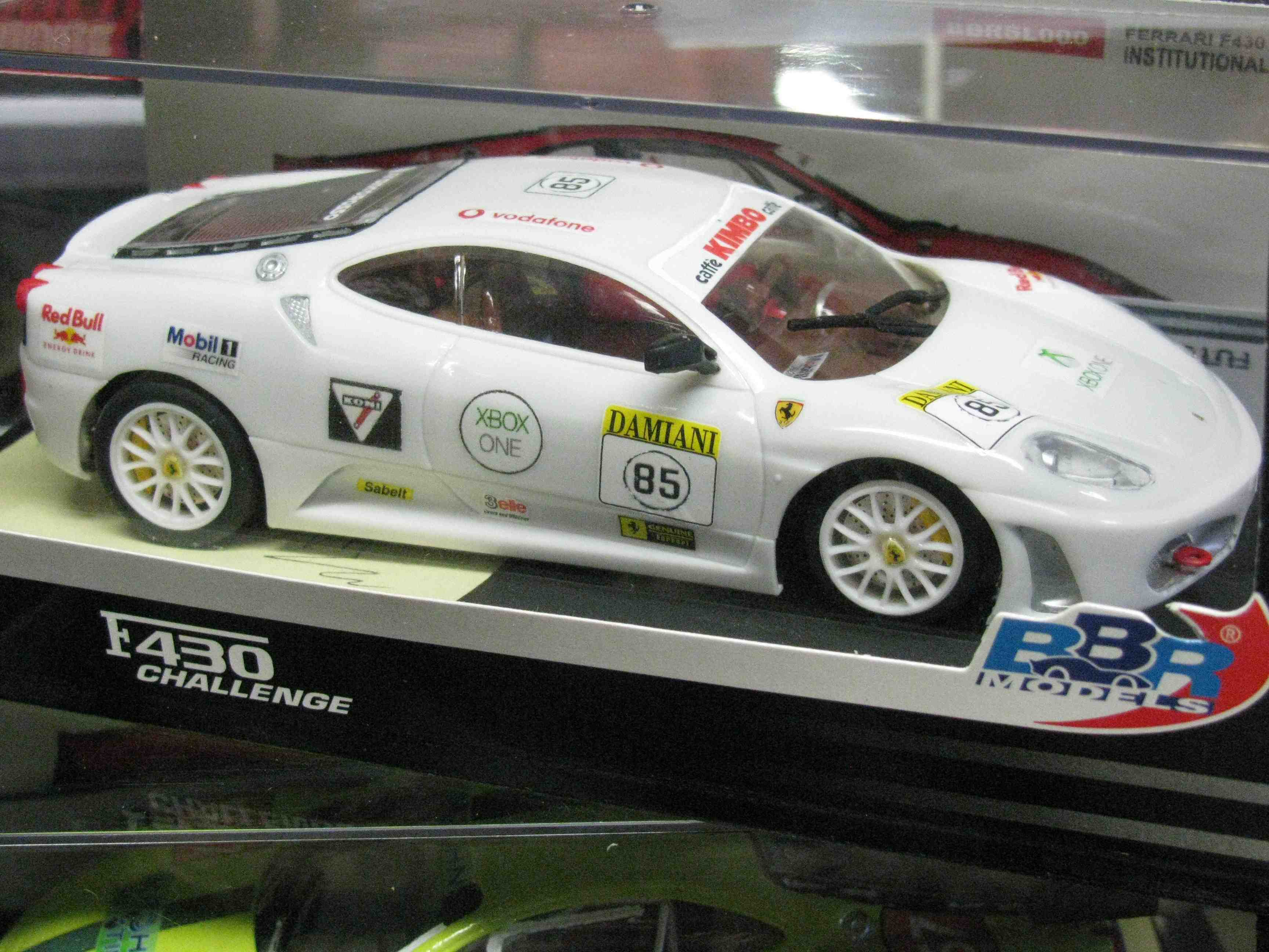 Ferrari F430 Challenge Slot Car in Brilliant Bianca White, with a custom Decal Design – Car #85