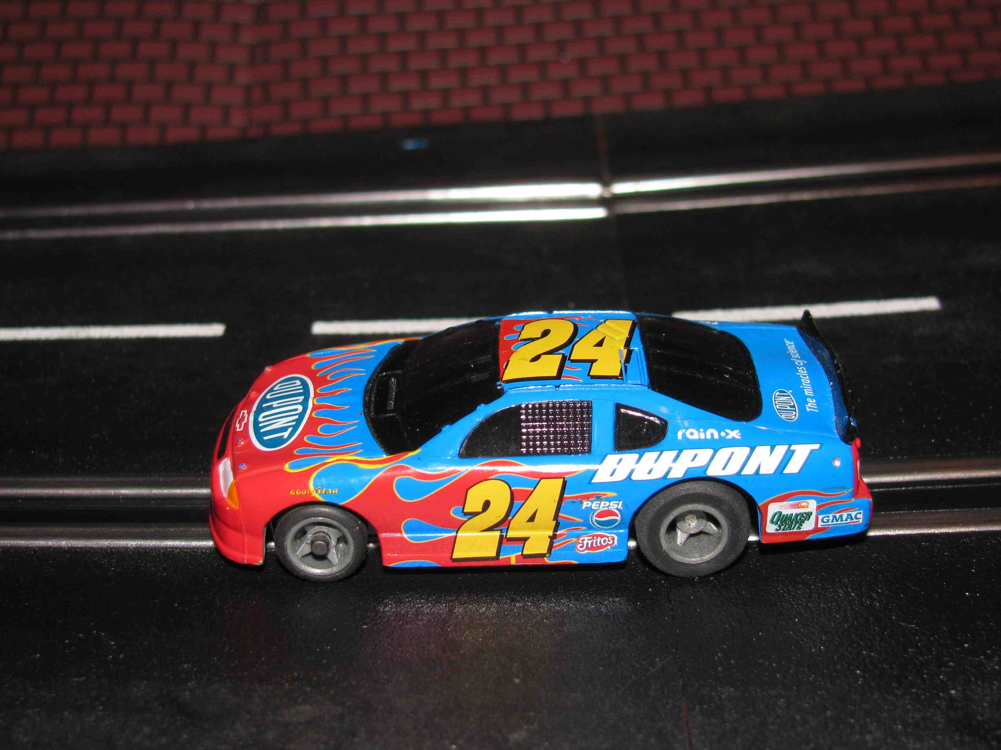 * SOLD * Tyco Like-Like HO Slot Car #24 Monte Carlo (DUPONT) with Guide Post