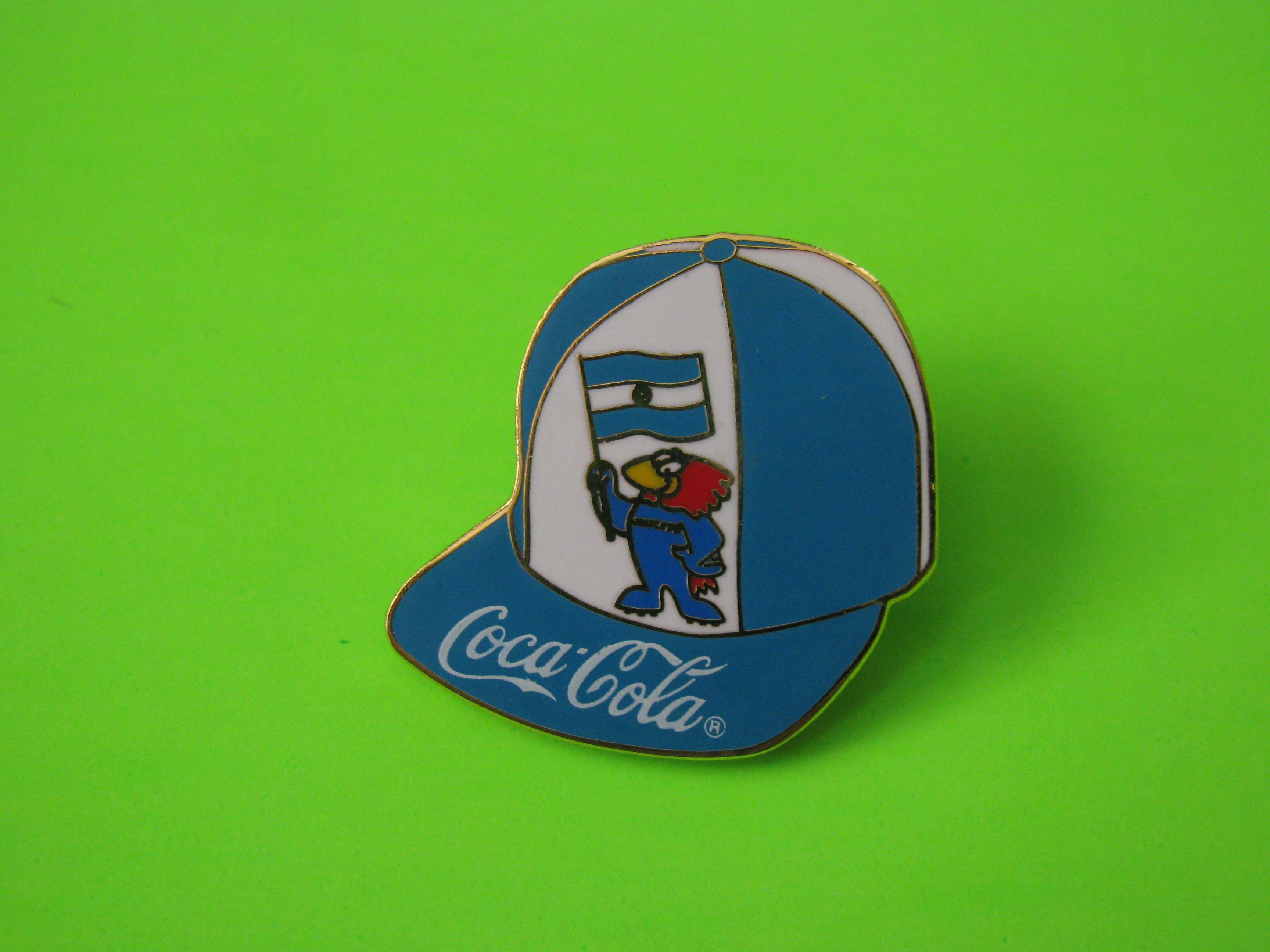 1995 Coca-Cola Promo Soccer Pin, Argentina, Ball Cap Shaped, Metal with Butterfly Clutch