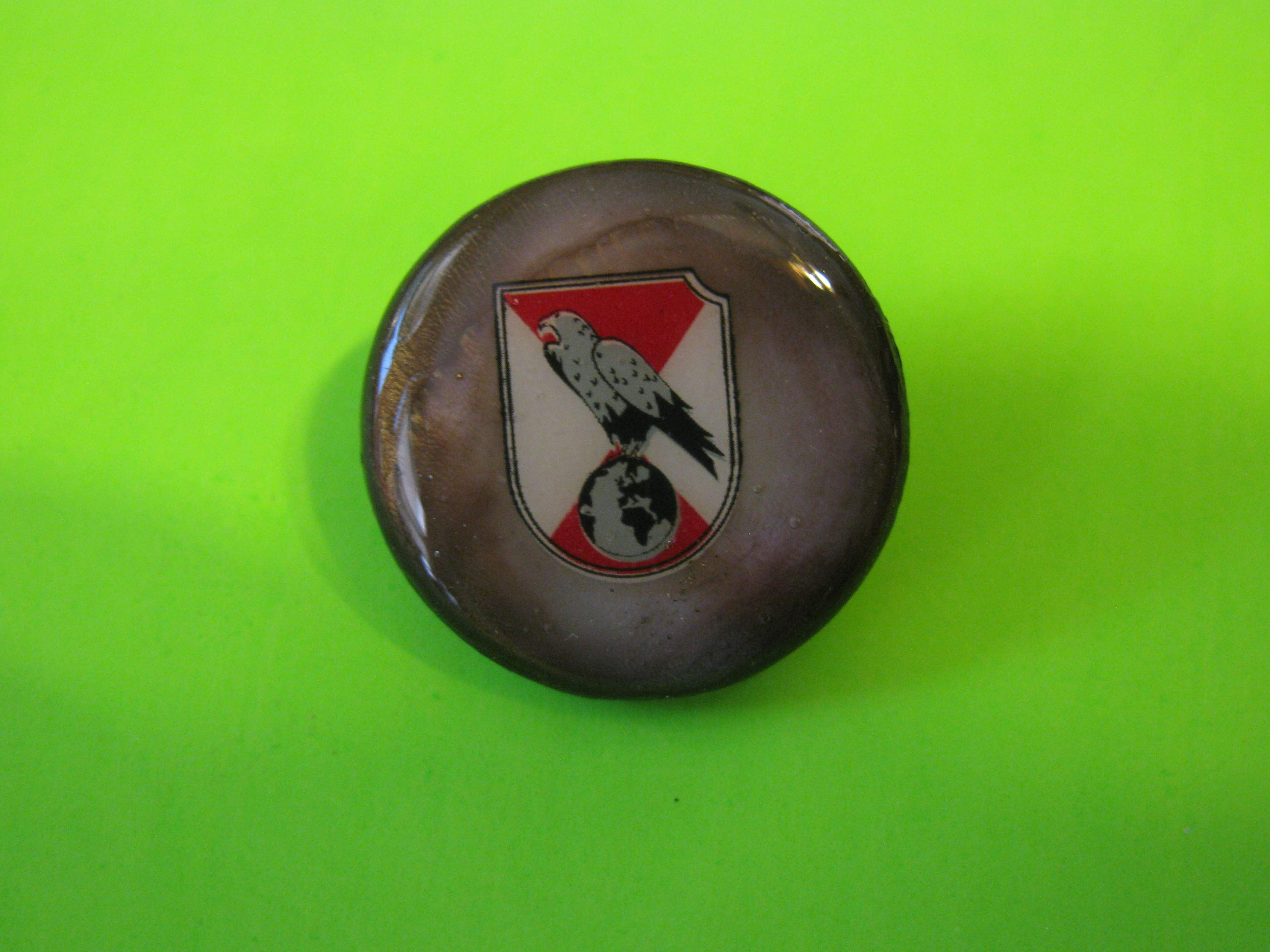 Eagle Perched atop a Globe on Button with Brass Loop Shank