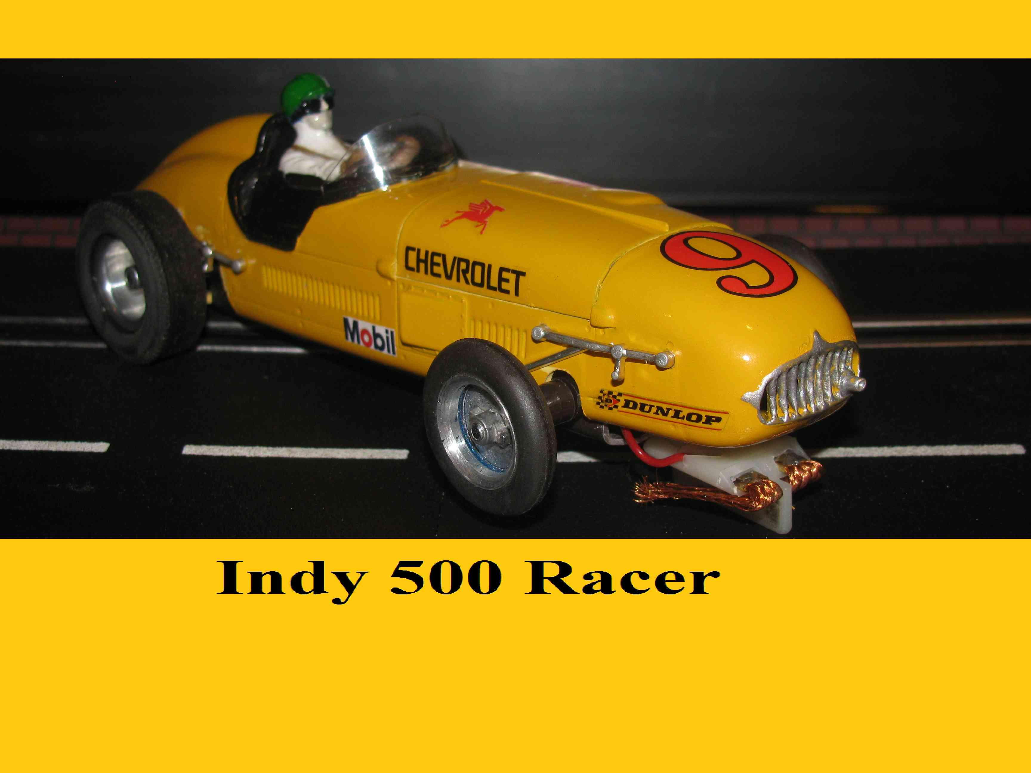 "* Winter is coming SALE * Vintage 1956 Indy 500 Racer Slot Car ""Yellow Streak"" 1:24 Scale"