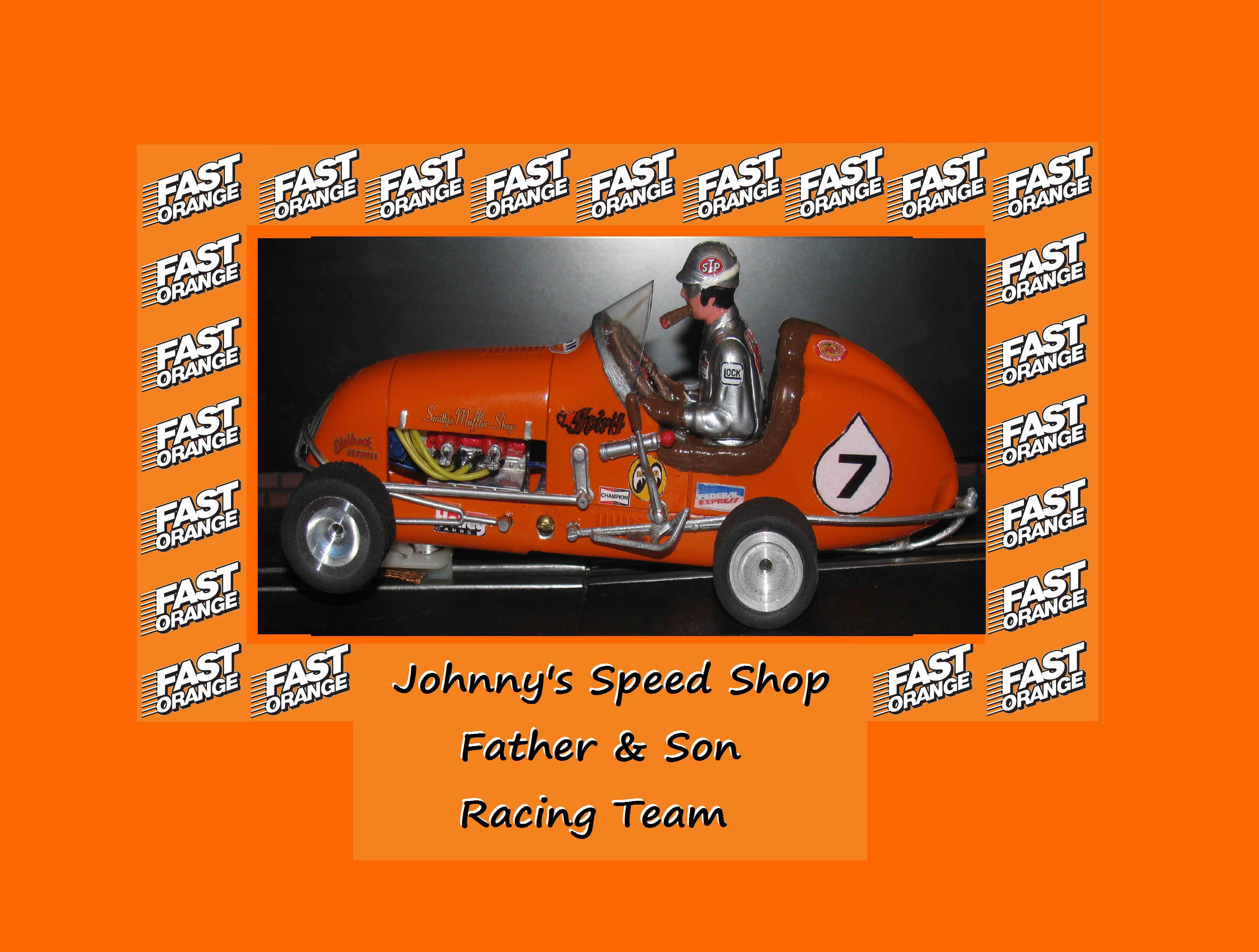 "* SOLD * Vintage Monogram Midget Racer Slot ""Johnny's Speed"" Shop Father & Son ""Fast Orange"" Racing Car 7"
