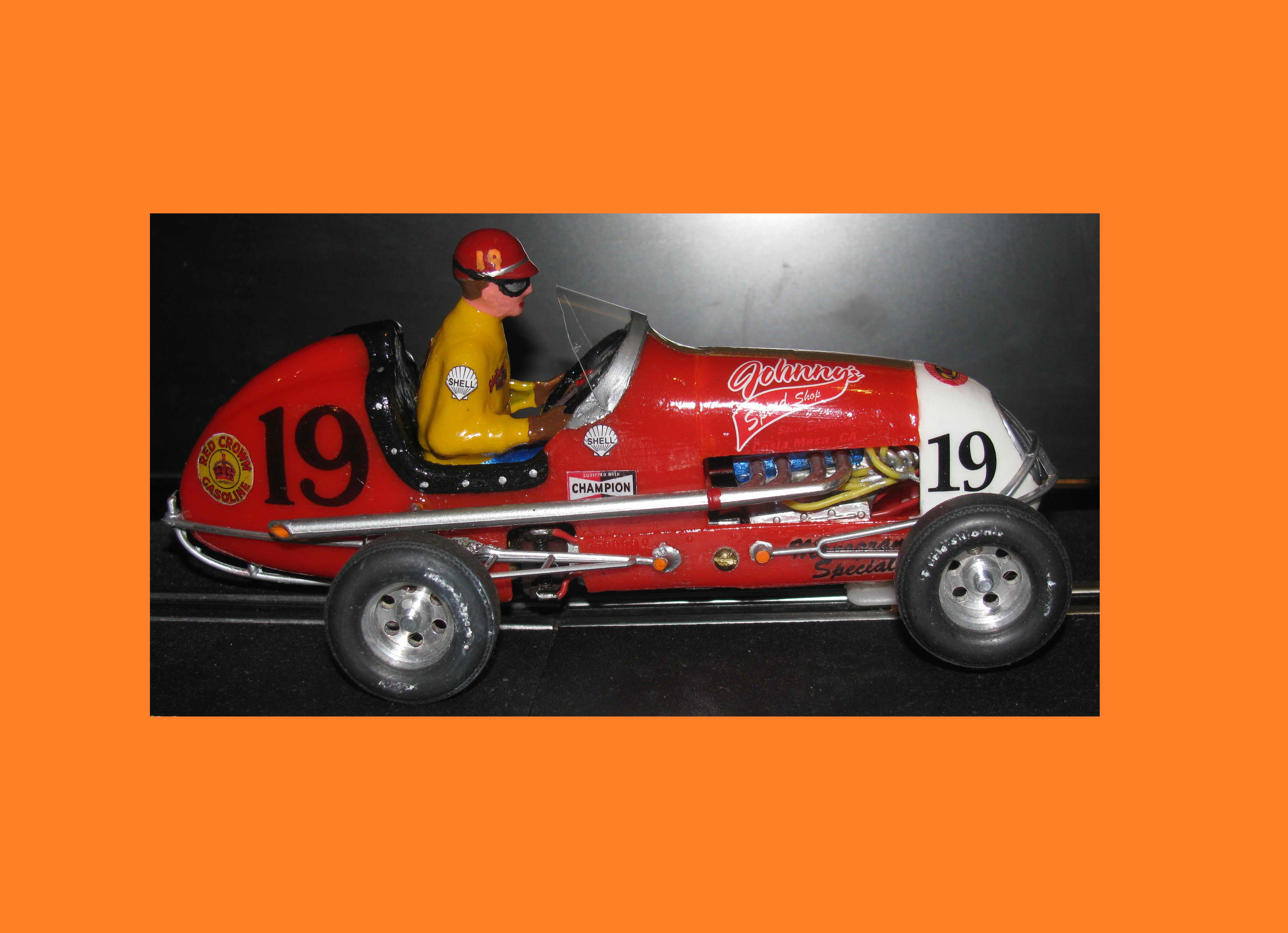 "*SOLD* Vintage Monogram Midget Racer ""Johnnys Speed Shop Midget Racer II"" Slot Car # 19"