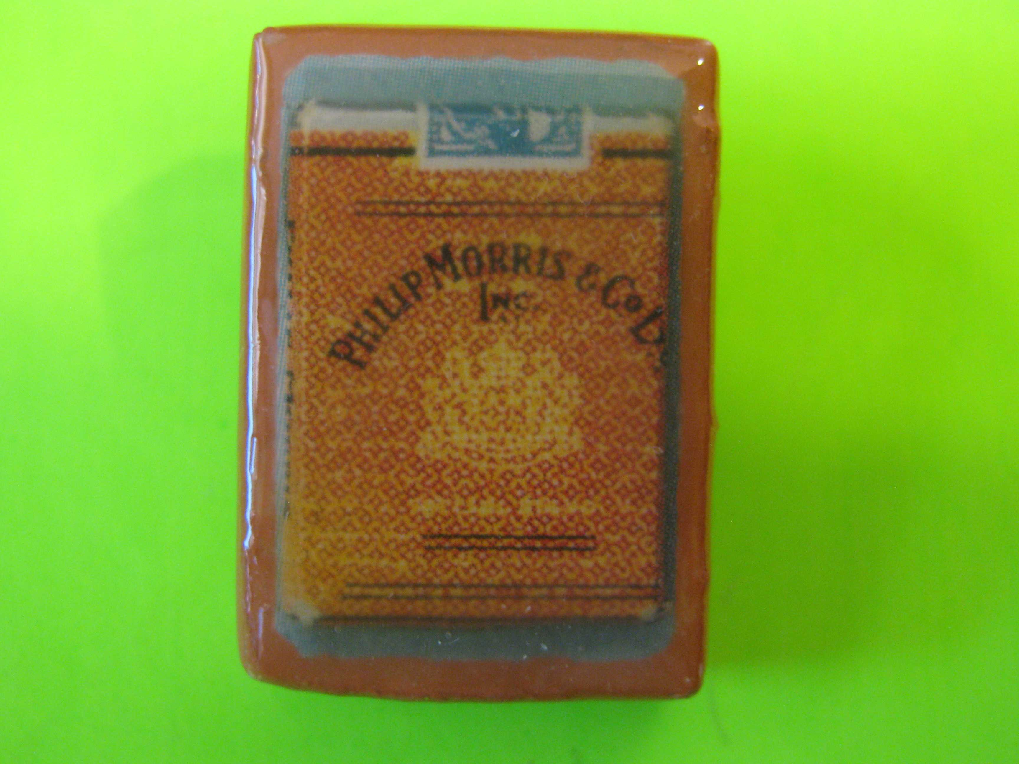 Phillip Morris Cigarettes Promo Button Wood with Brass Loop Shank