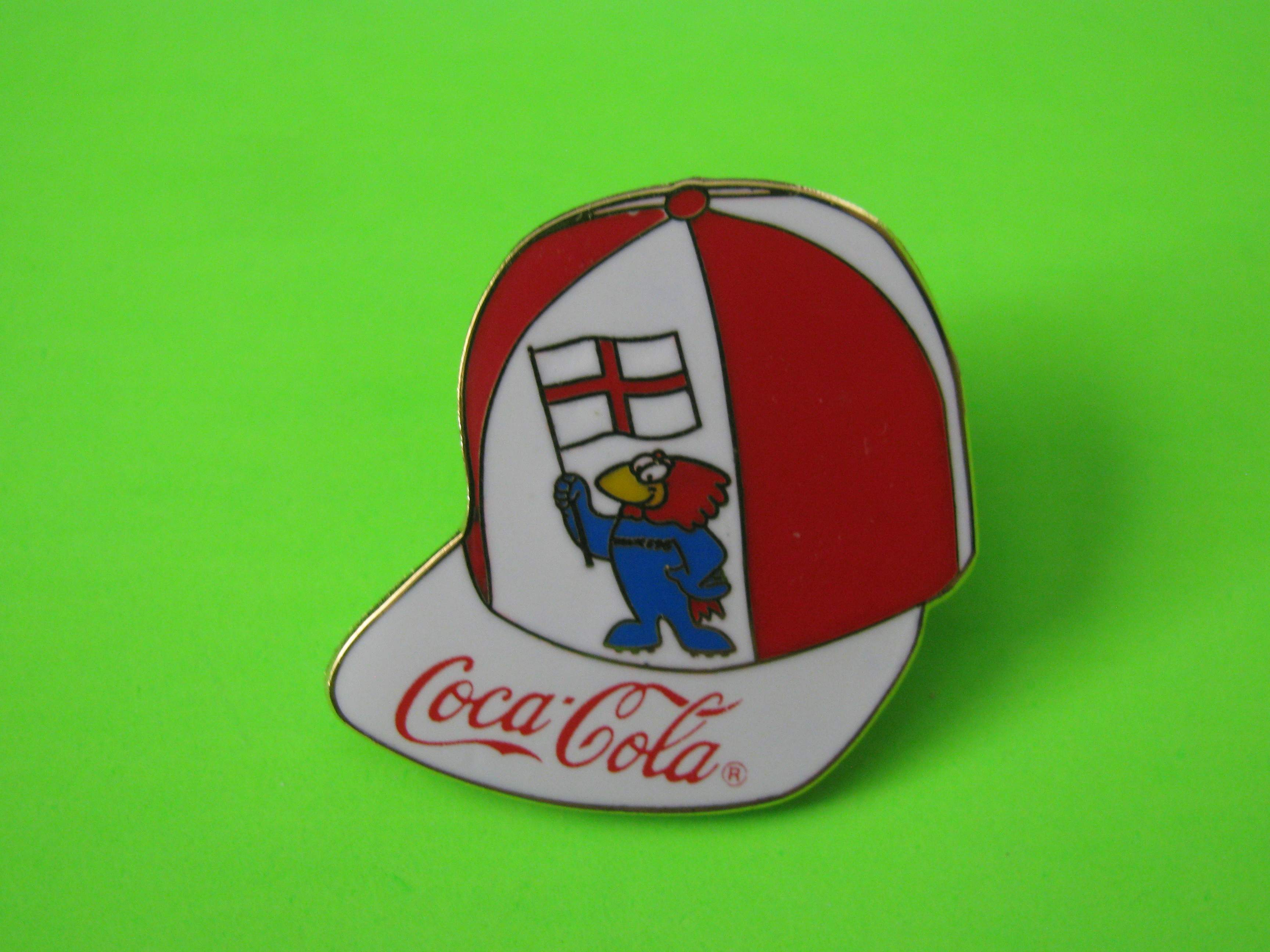 1995 Coca-Cola Promo Soccer Pin, London England, Ball Cap Shaped, Metal with Butterfly Clutch