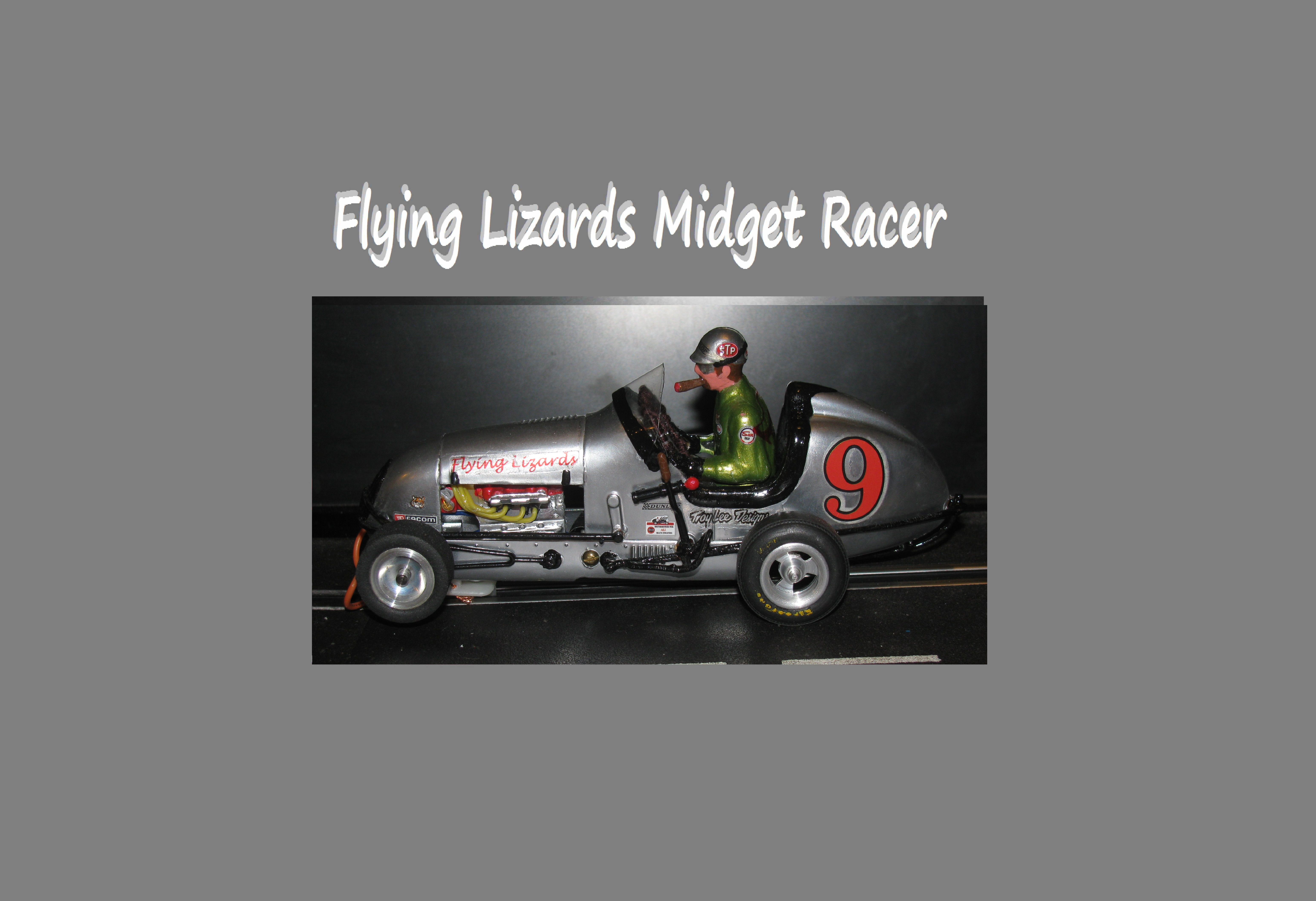 "*SOLD* Monogram Midget Racer ""Flying Lizards"" Silver Bullet Slot Car – Car #9"
