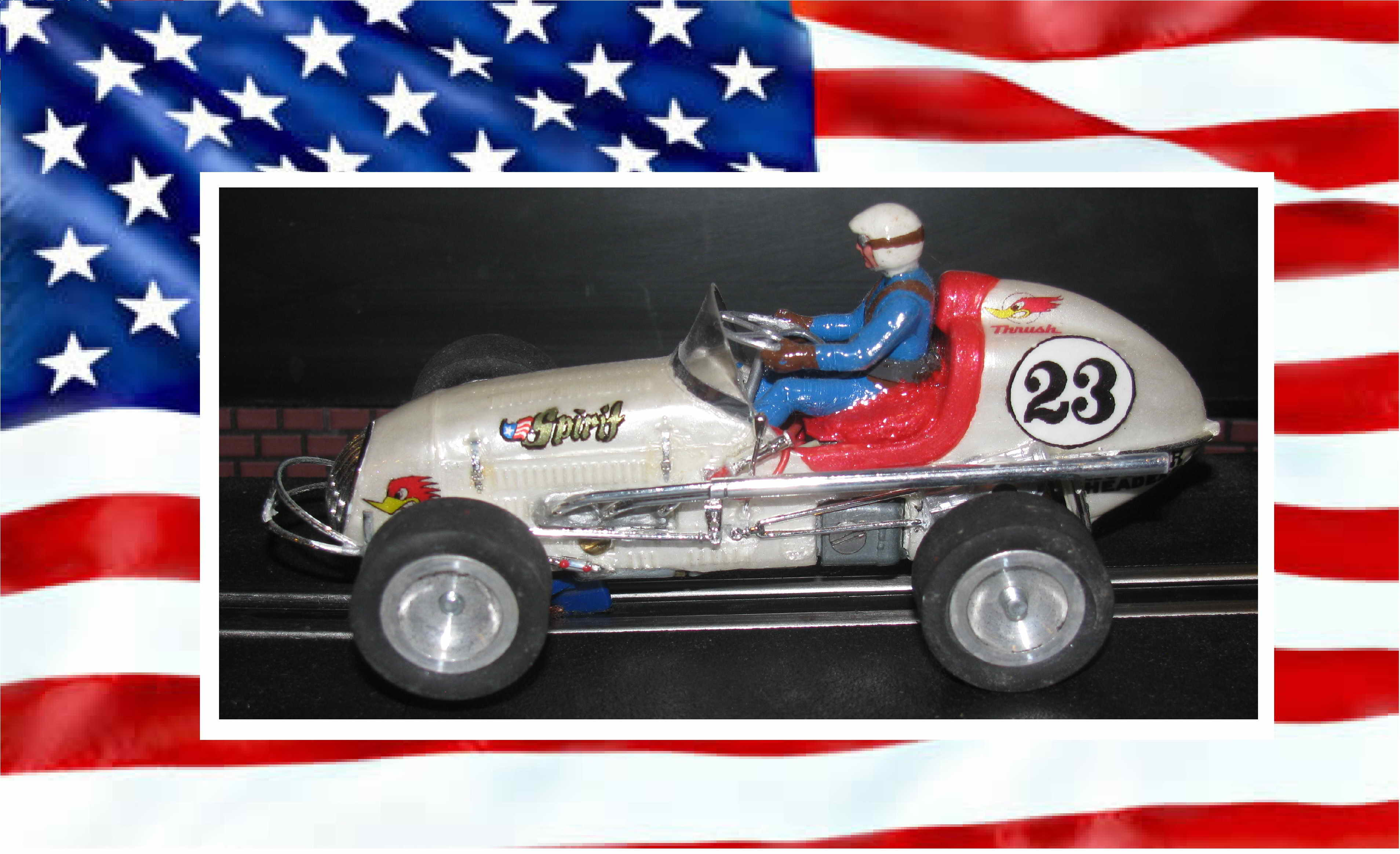 "* SOLD * SALE * Vintage Midget Racer ""Spirt of America"" – Pearl White Metallic Slot Car 1/32 Scale – Car #23"