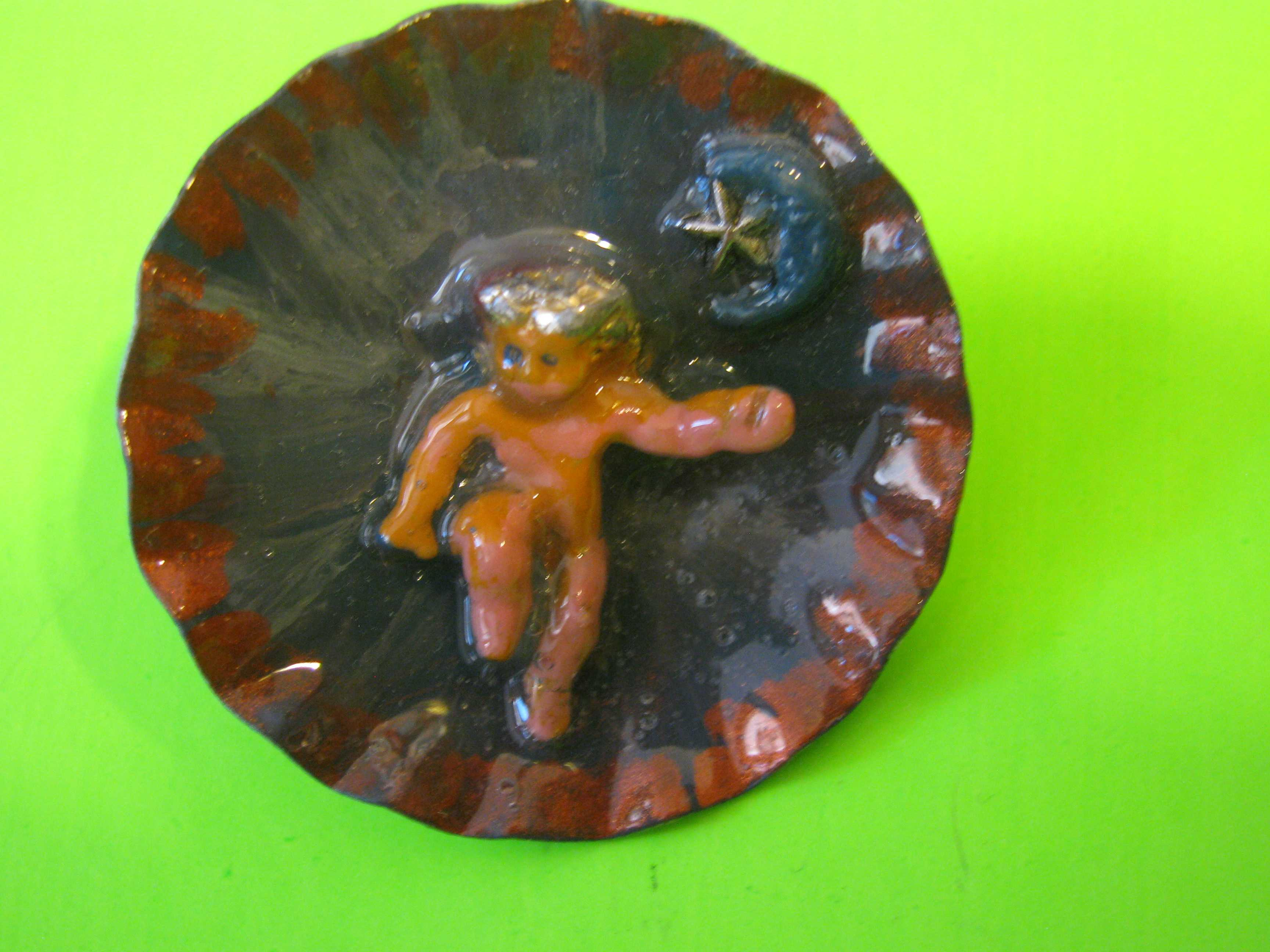 Baby Angel Vintage Style Large Metal Button with Metal Loop Shank
