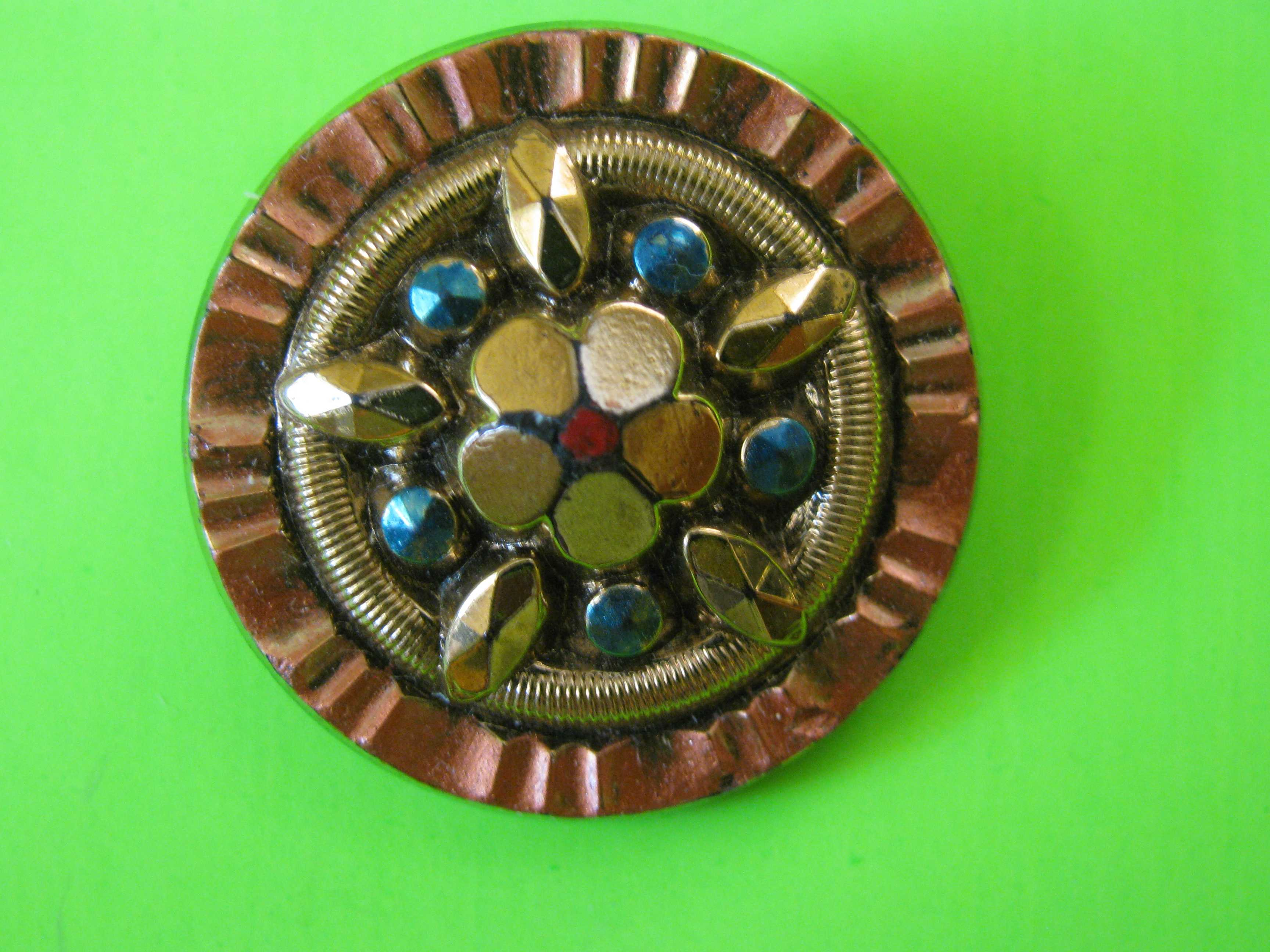 Aztec Style Circular Button with Star Shaped Stones Embedded in Center & a Brass Loop Shank