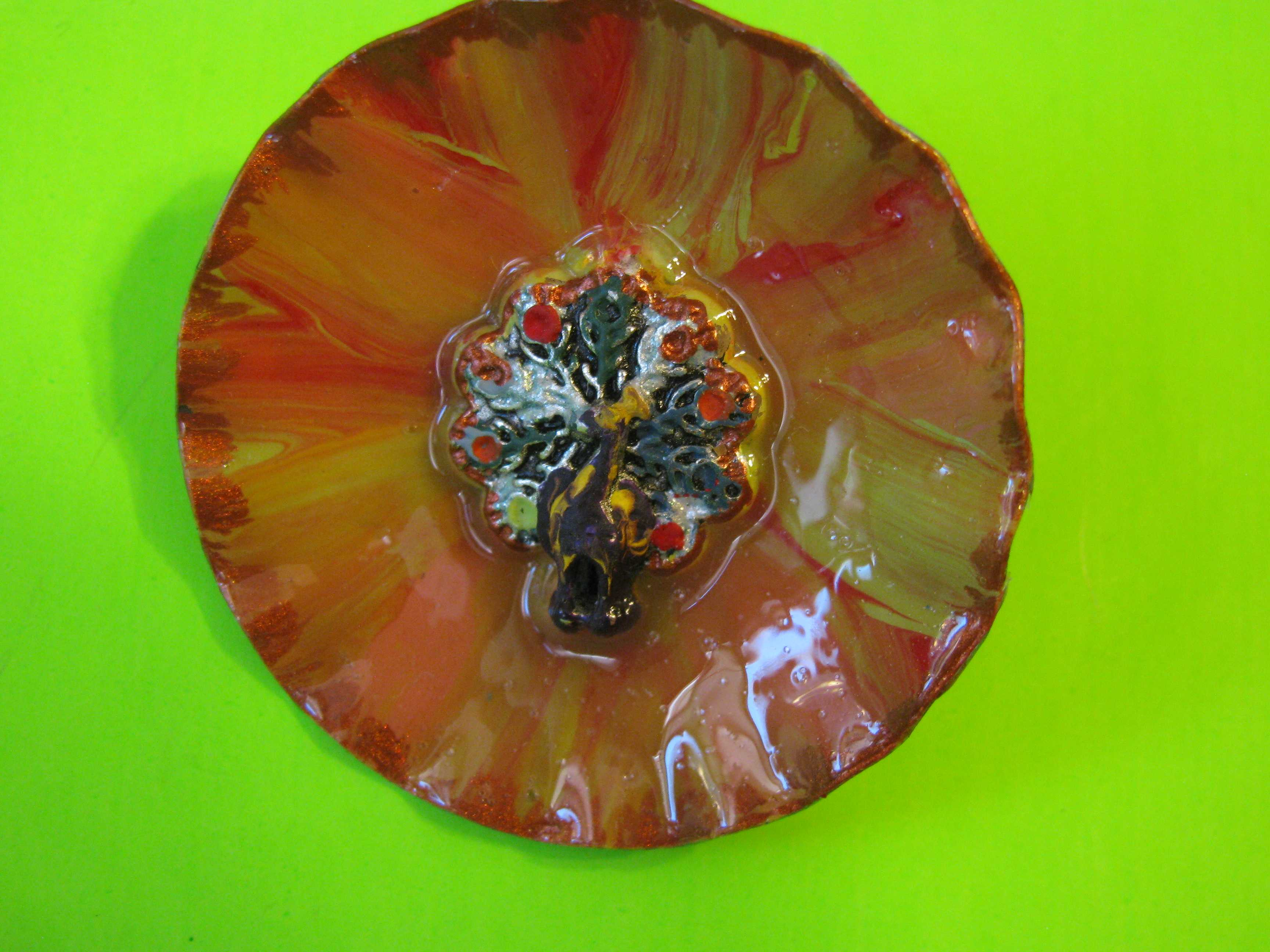 * SOLD * Beautiful Metal Button with Colorful Painted Peacock with Brass Loop Shank