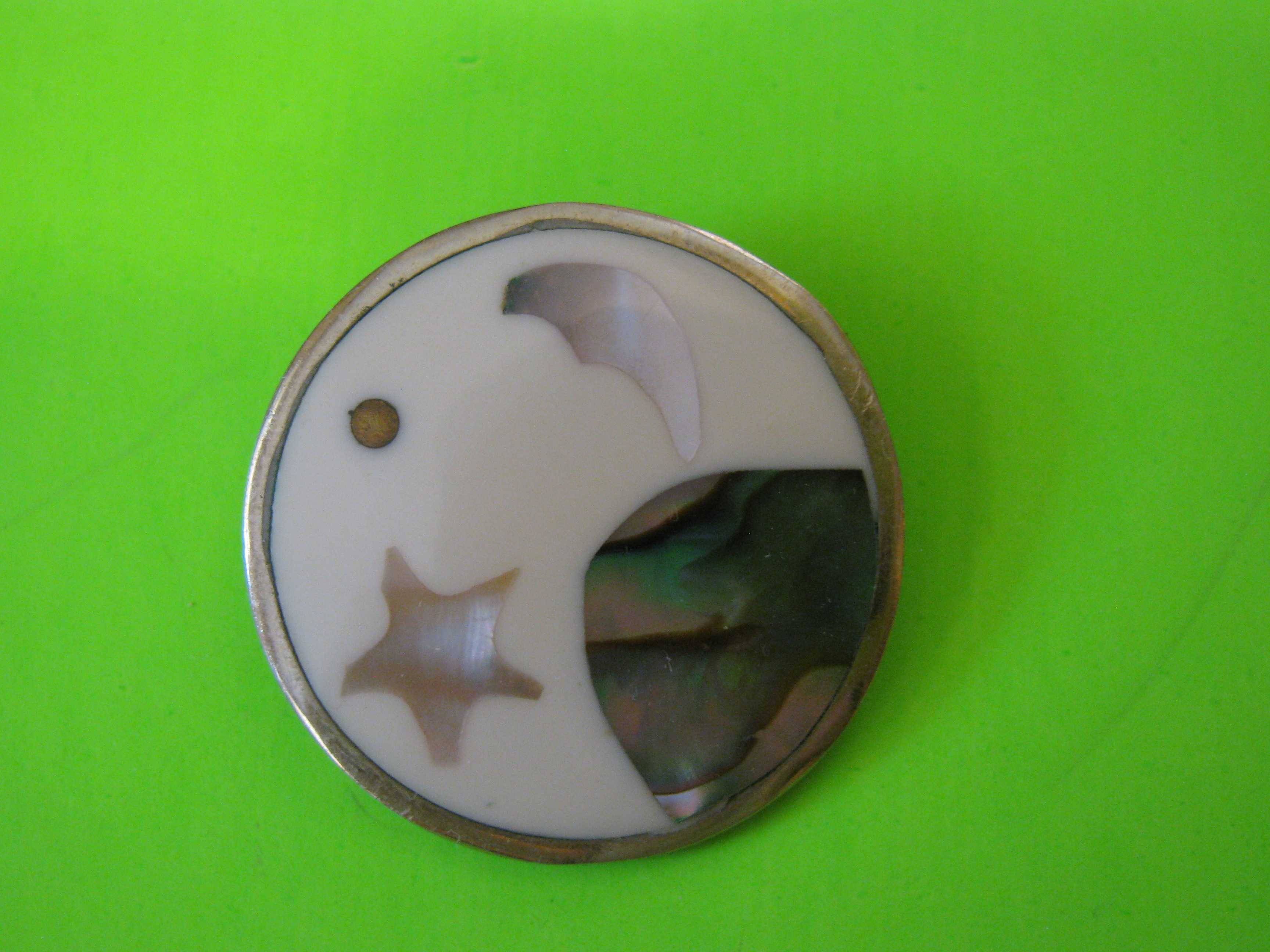 Beautiful Moon & Stars Inlay with Sterling Silver and Mother of Pearl Button with Brass Loop Shank