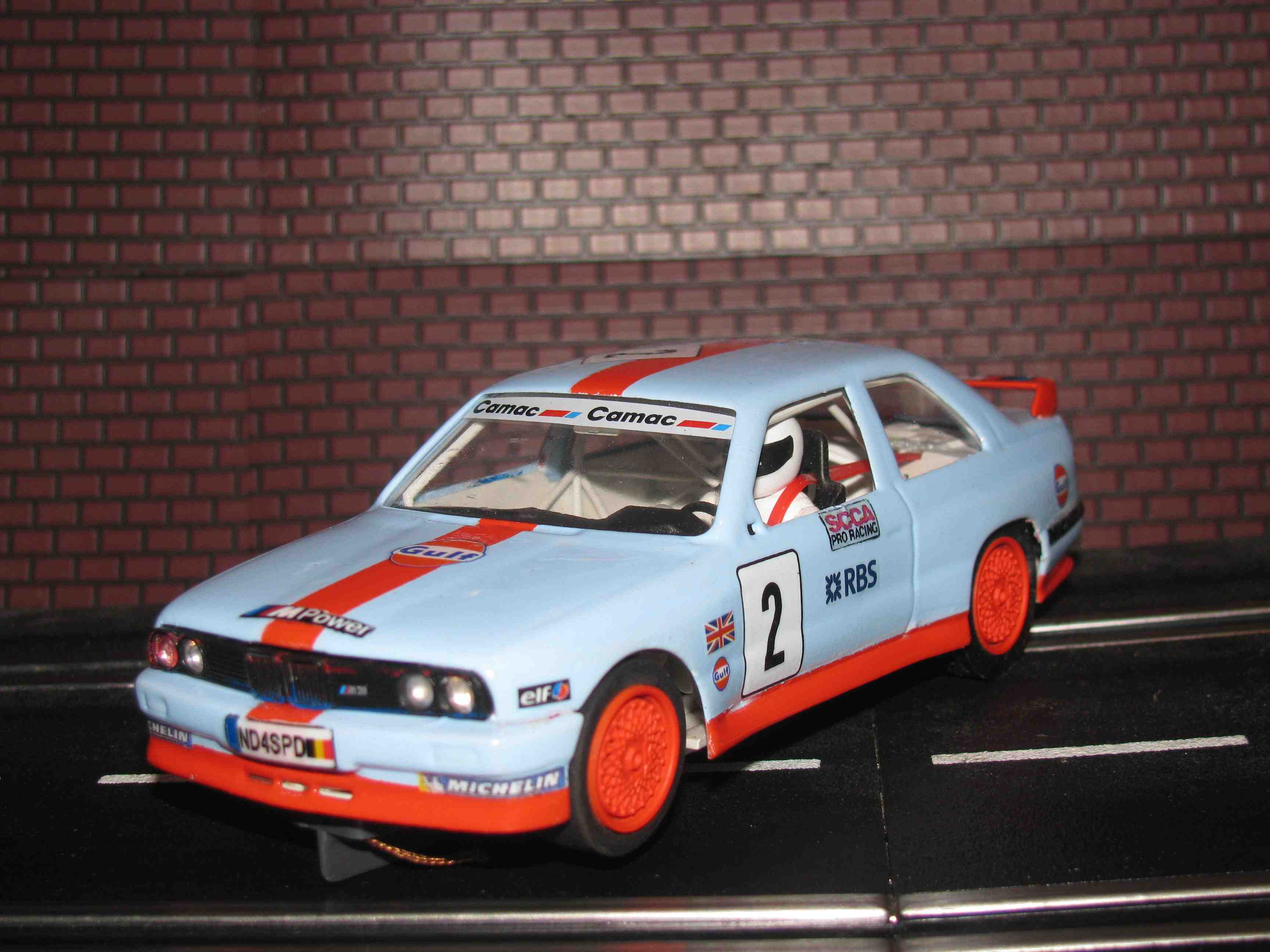 *** SOLD *** Fly BMW M3 E30 MPower Gulf Racing Slot Car 1/32 Made in Spain - Runs Great
