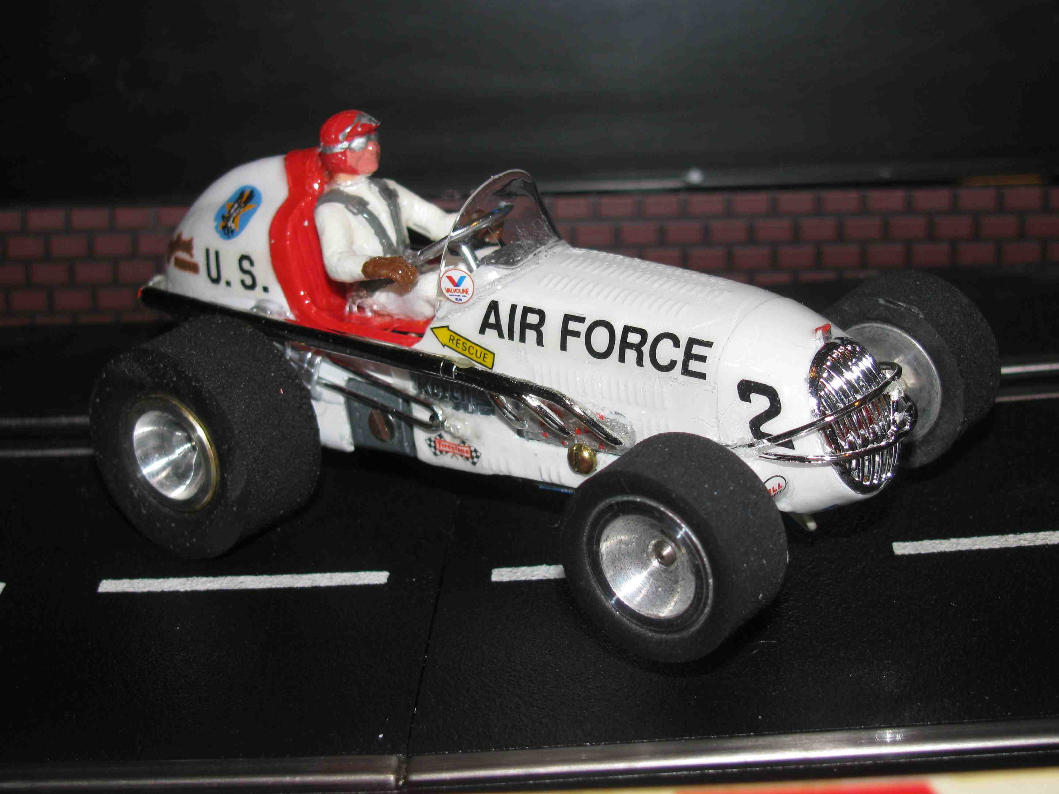 "* SOLD * Vintage Revell Midget Racer ""Air Force"" Race Team Slot Car 1/32 Scale – White – Car #2 (Limited Edition Set of Four - 2 of 4)"