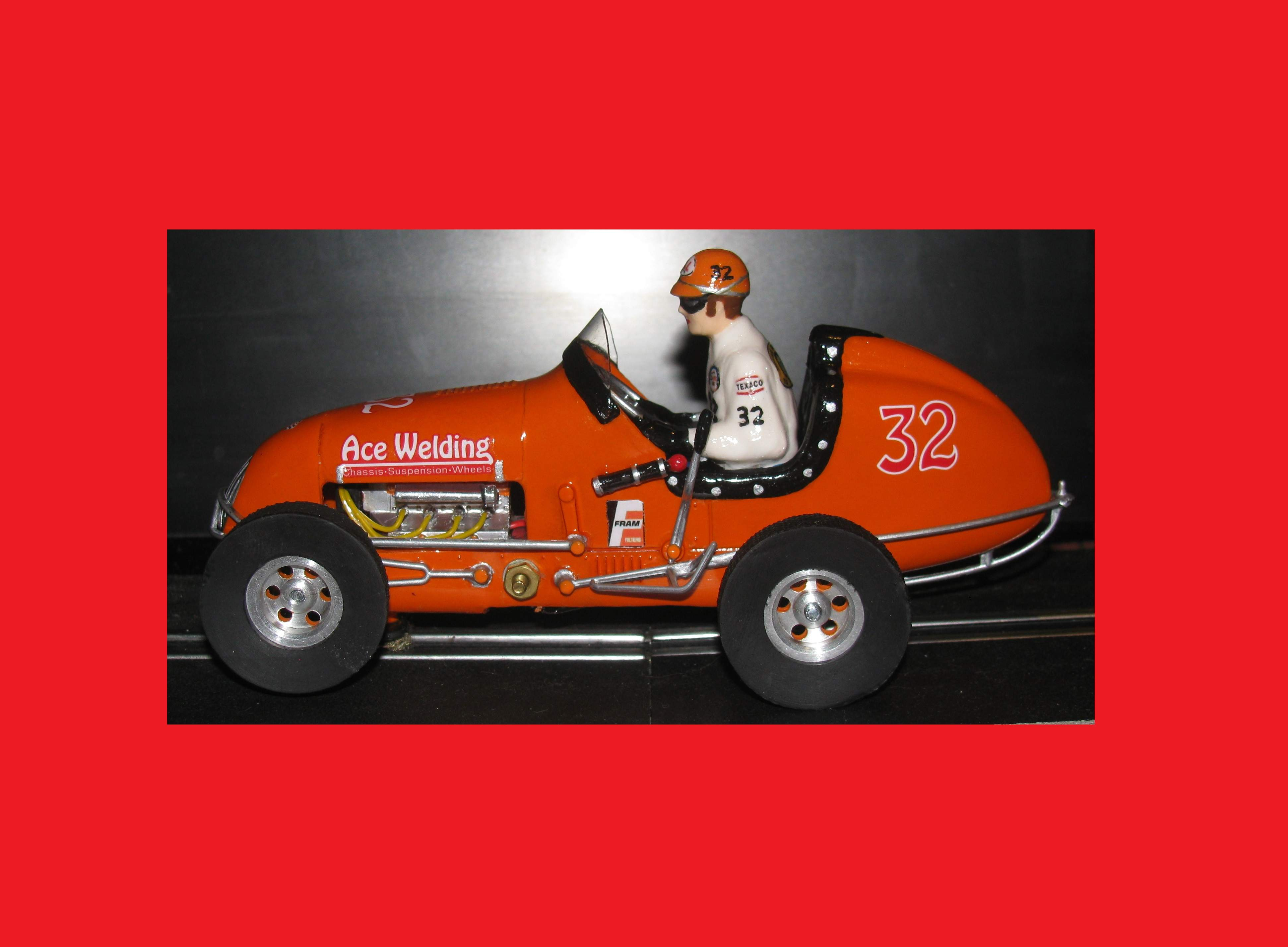 *SOLD* * Saint Patrick's Day SALE * Monogram Midget Kurtis Outrageous Orange V Racing Special Slot Car 23