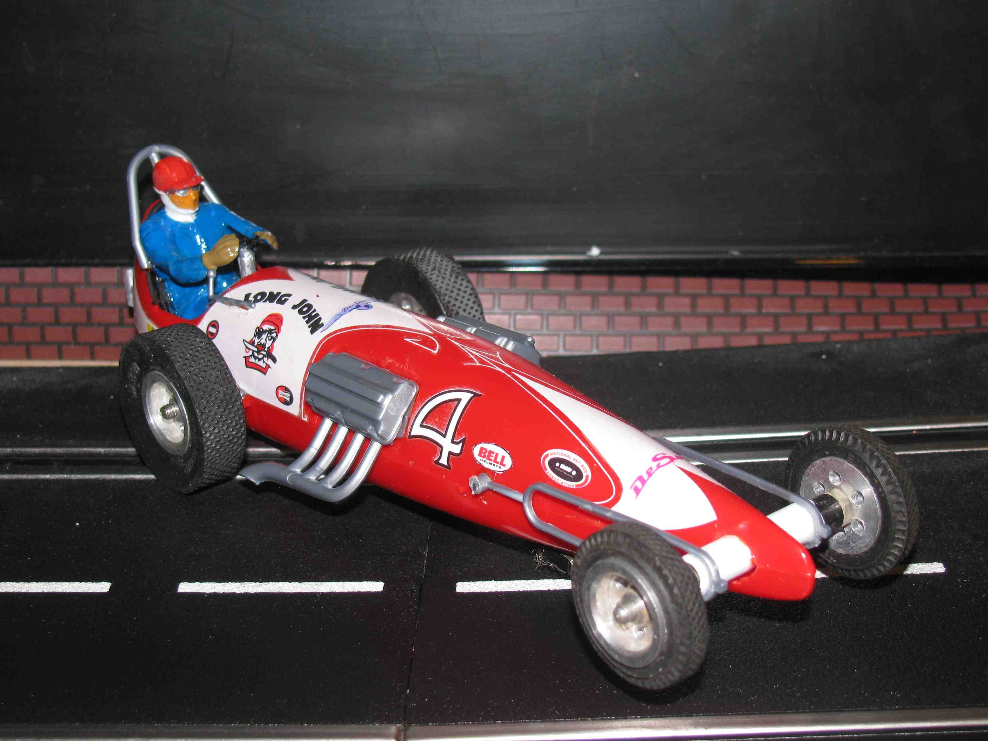 *SOLD* Vintage Monogram Revell Long John Dragster Slot Car 1/32 Scale – Red – Car #4