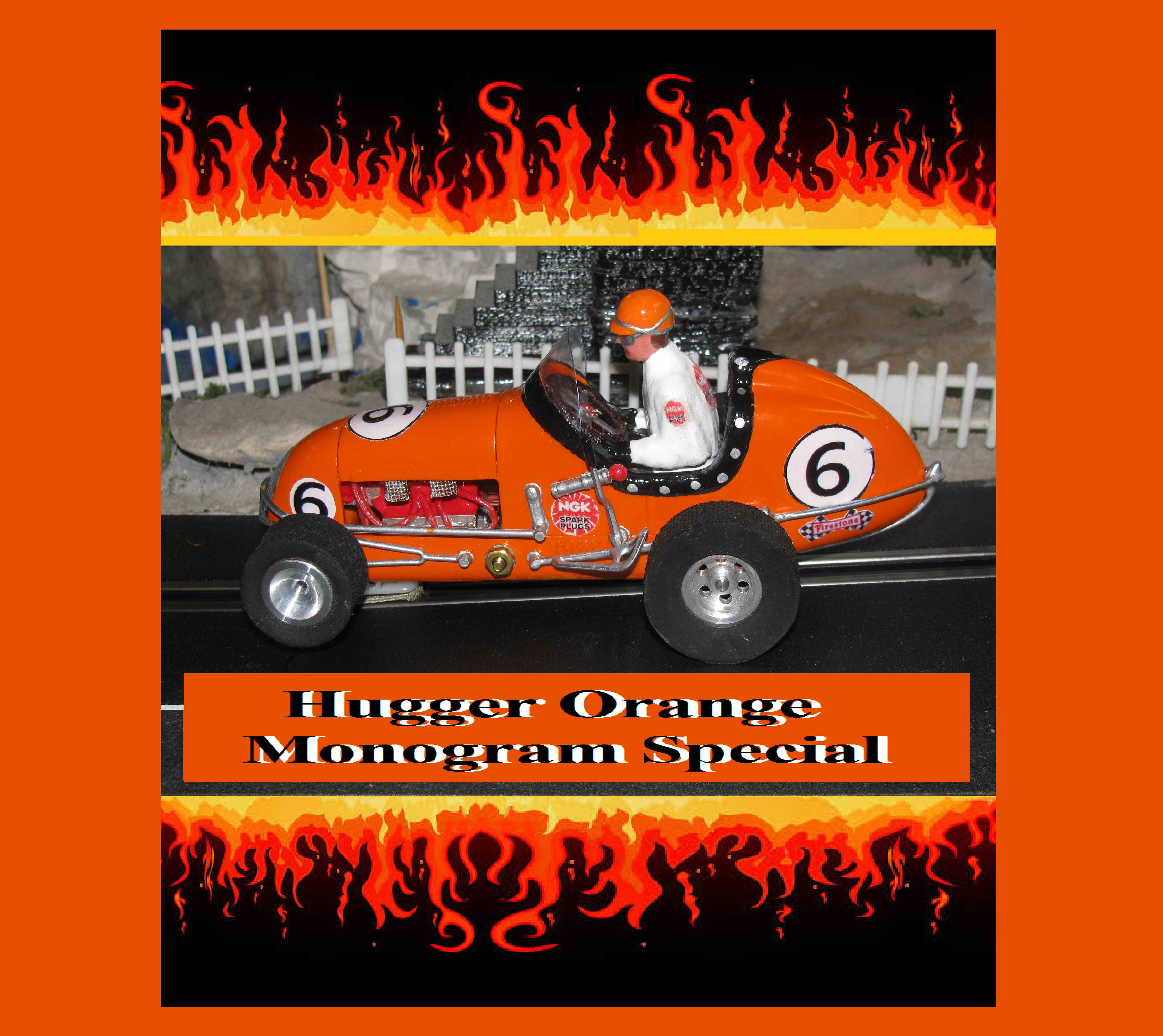 *SOLD* Midget Racer Hugger Orange Monogram Special Slot Car 1/24 Scale