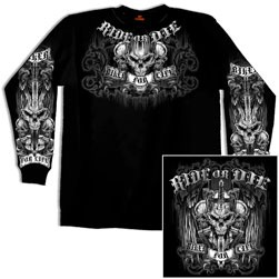 Ride or Die Black Double Sided Long Sleeve Tee Shirt