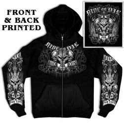 Ride Or Die Skull Zip-Up Hooded Sweatshirt