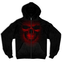 Red Ghost Skull Zip-Up Hooded Sweatshirt