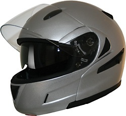 Silver DOT Flip-Up Full Face Helmet Retractable Sun Visor