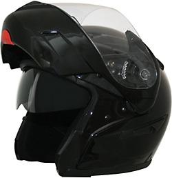 Gloss Black DOT Flip-Up Full Face Helmet Retractable Sun Visor