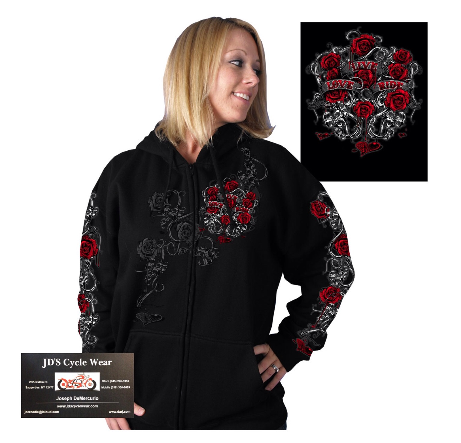 Womens Hooded zip-up Sweatshirt with Live, Love, Ride and Roses